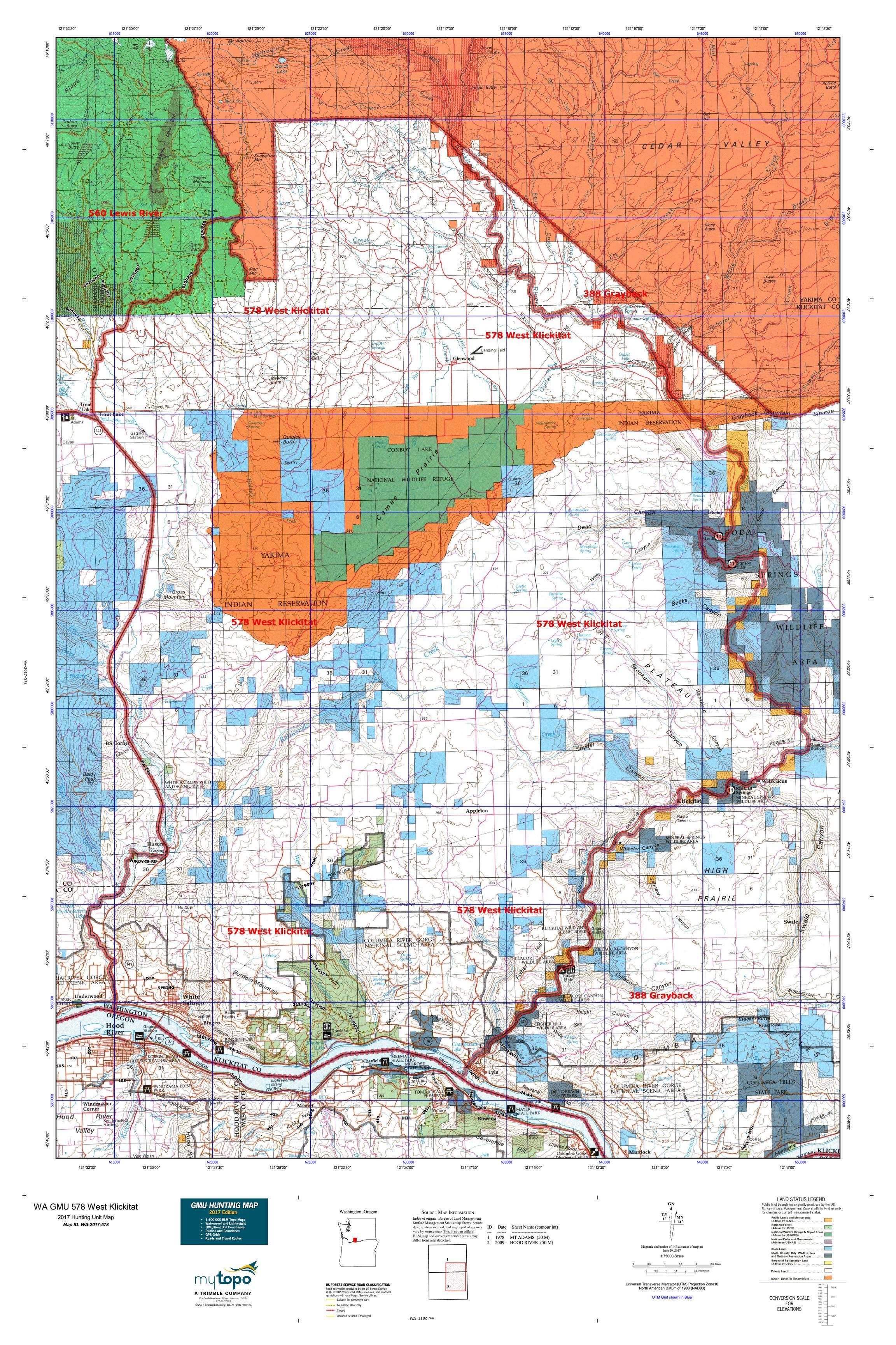 WA GMU 578 West Klickitat Map MyTopo