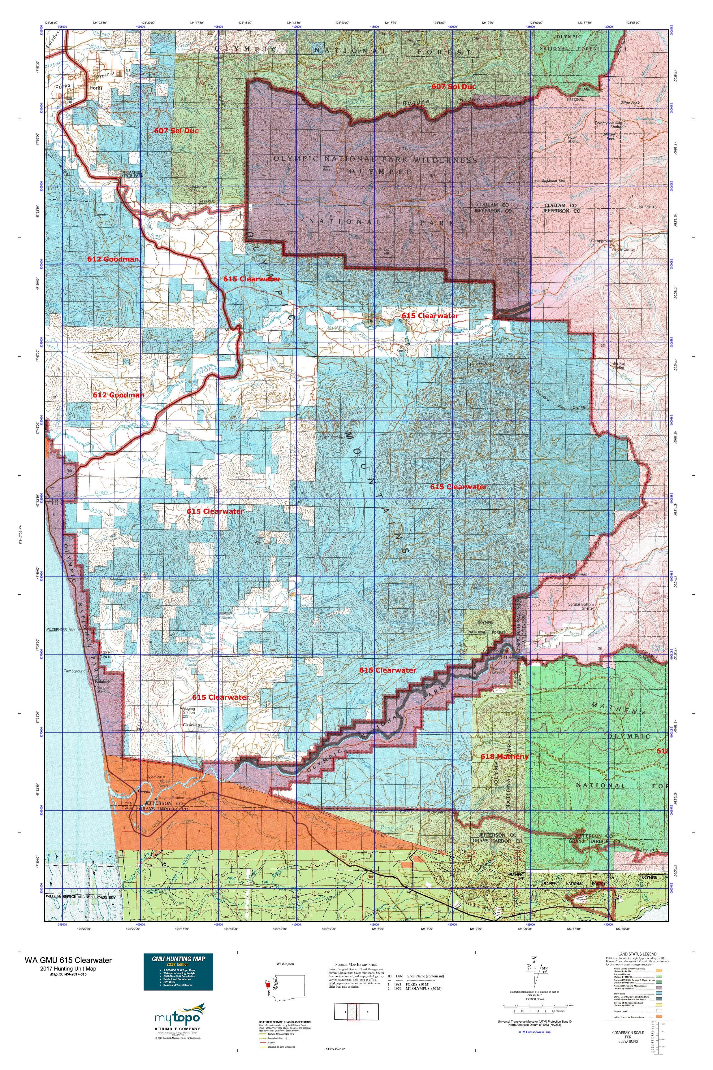 WA GMU 615 Clearwater Map MyTopo