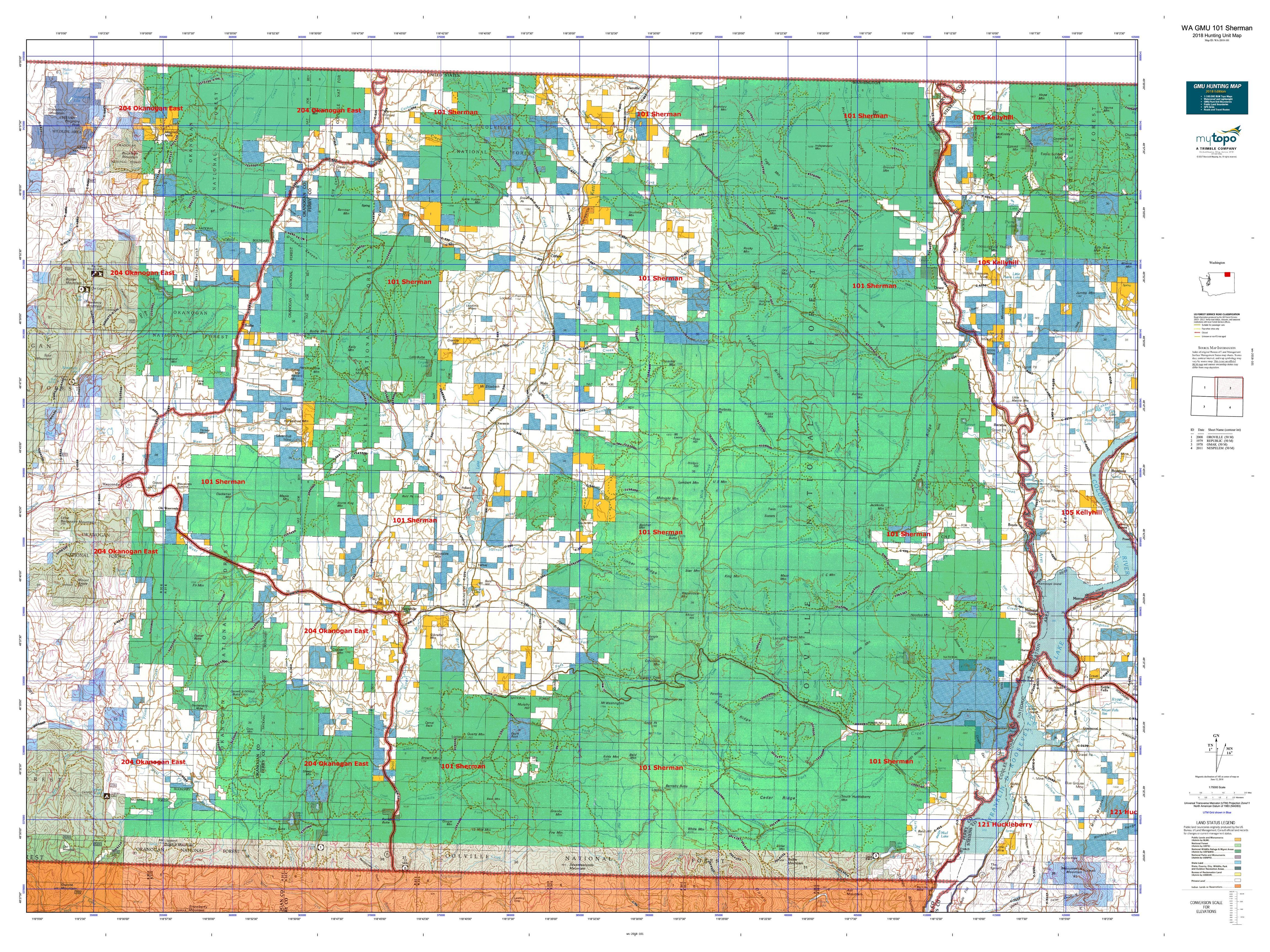 WA GMU 101 Sherman Map | MyTopo