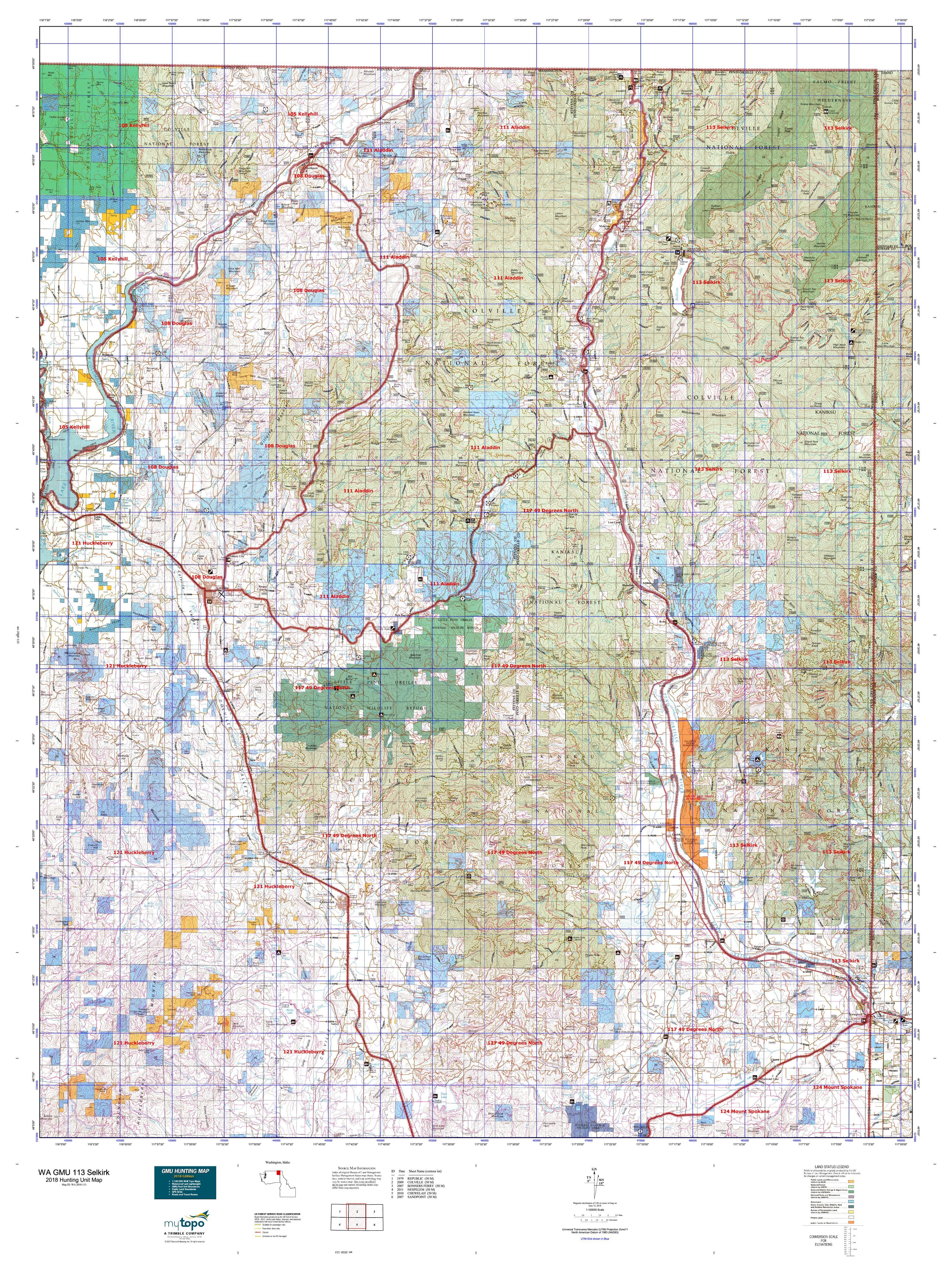 WA GMU 113 Selkirk Map | MyTopo