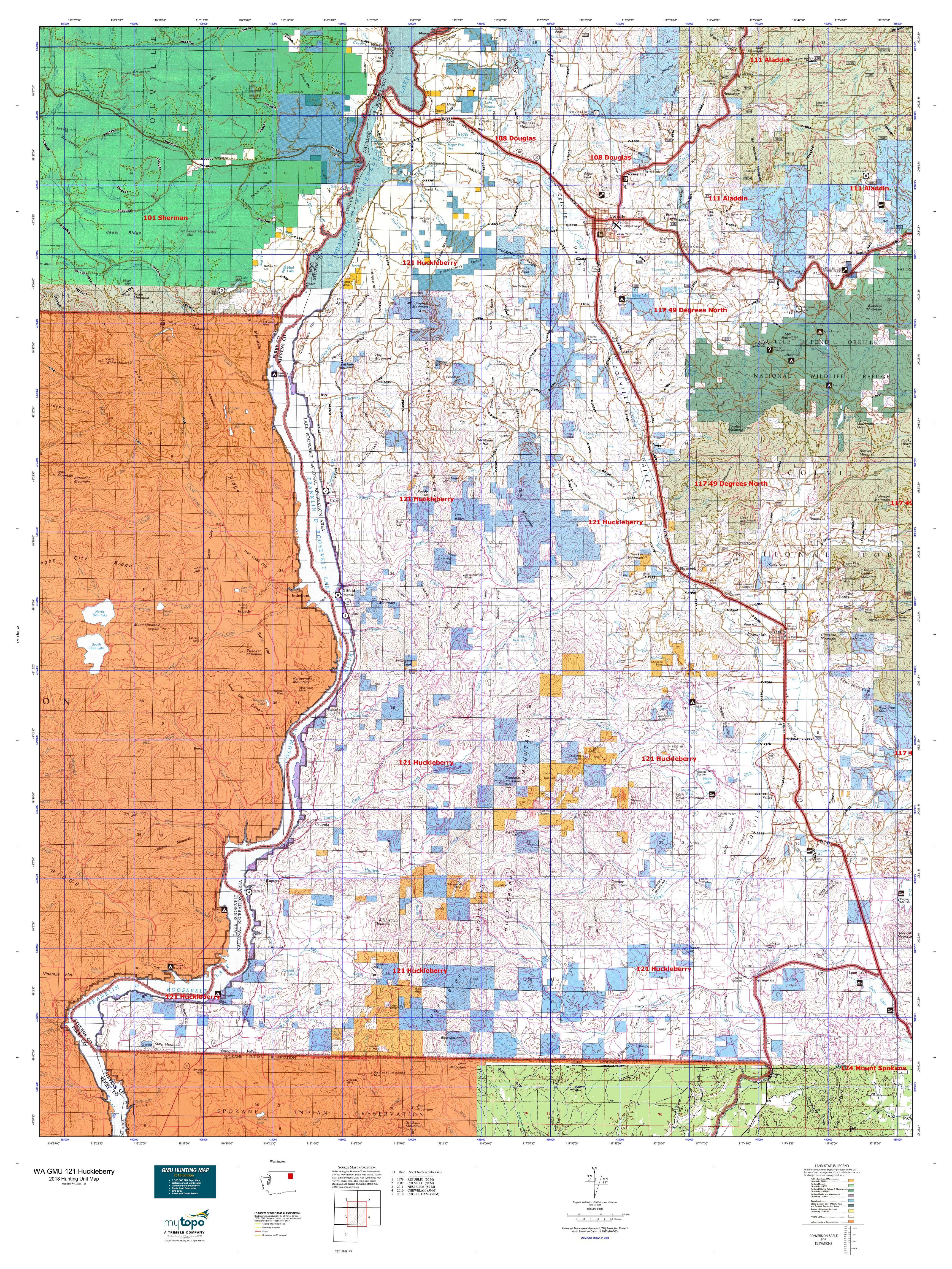 WA GMU 121 Huckleberry Map | MyTopo
