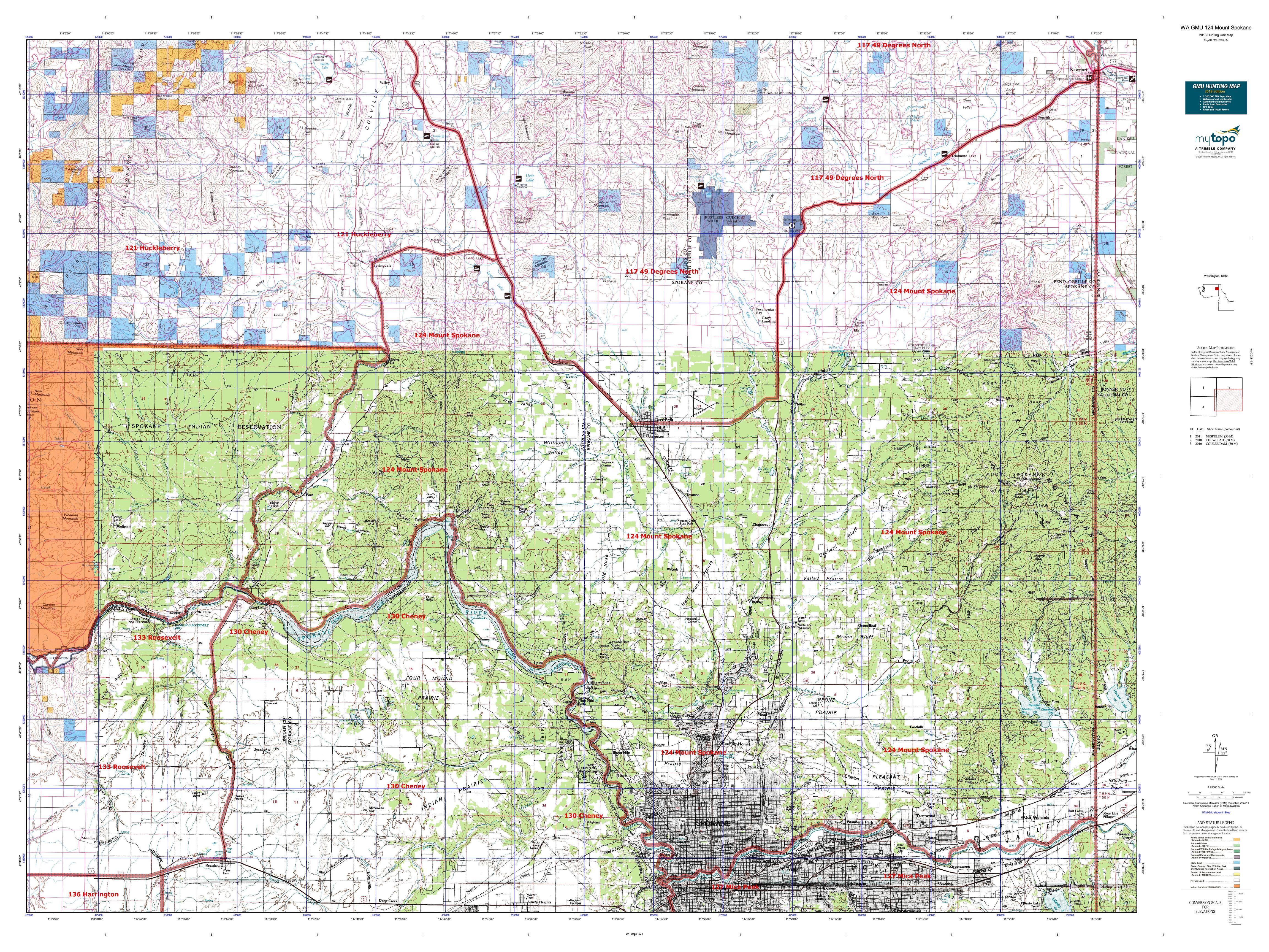 WA GMU 124 Mount Spokane Map | MyTopo