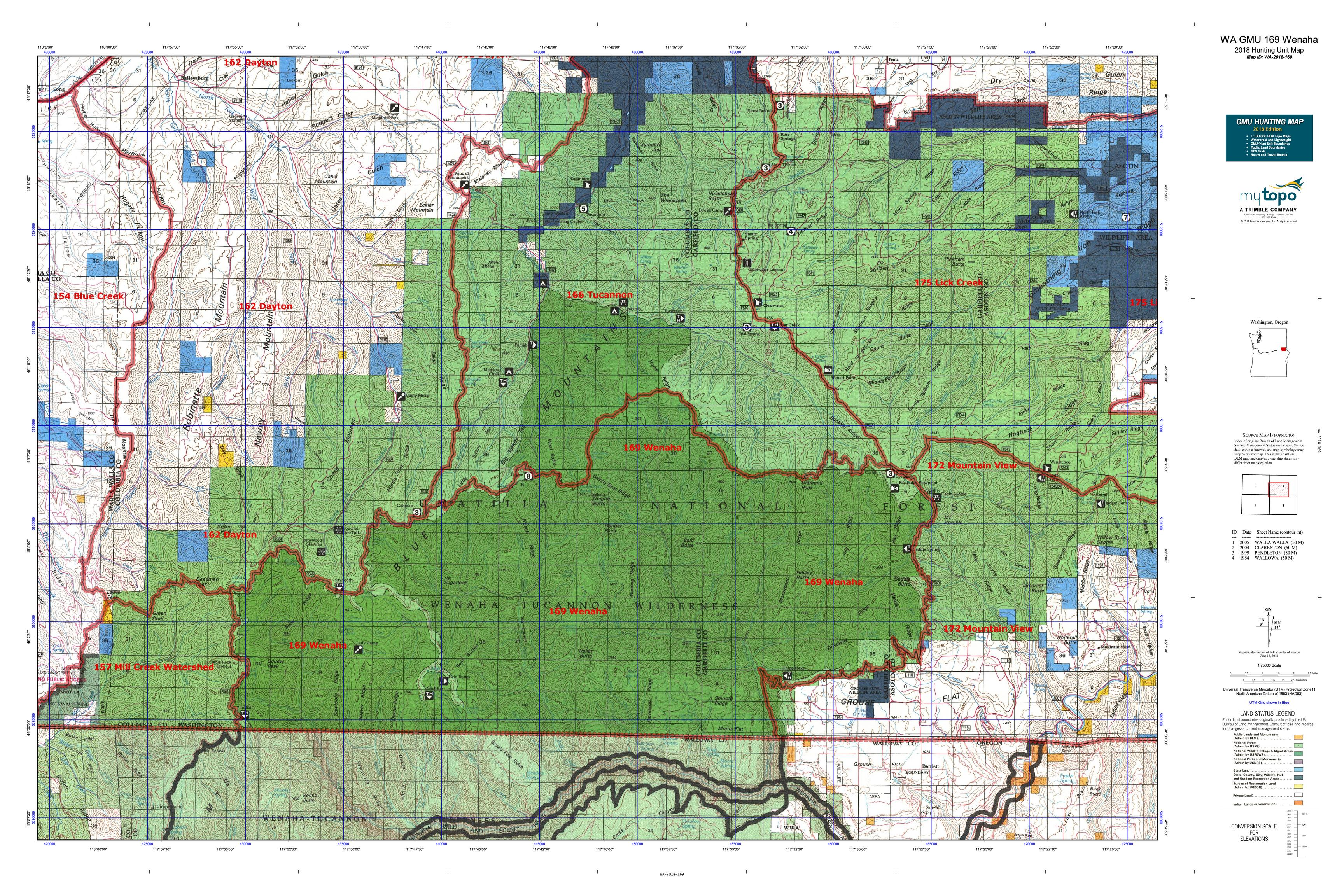 WA GMU 169 Wenaha Map | MyTopo