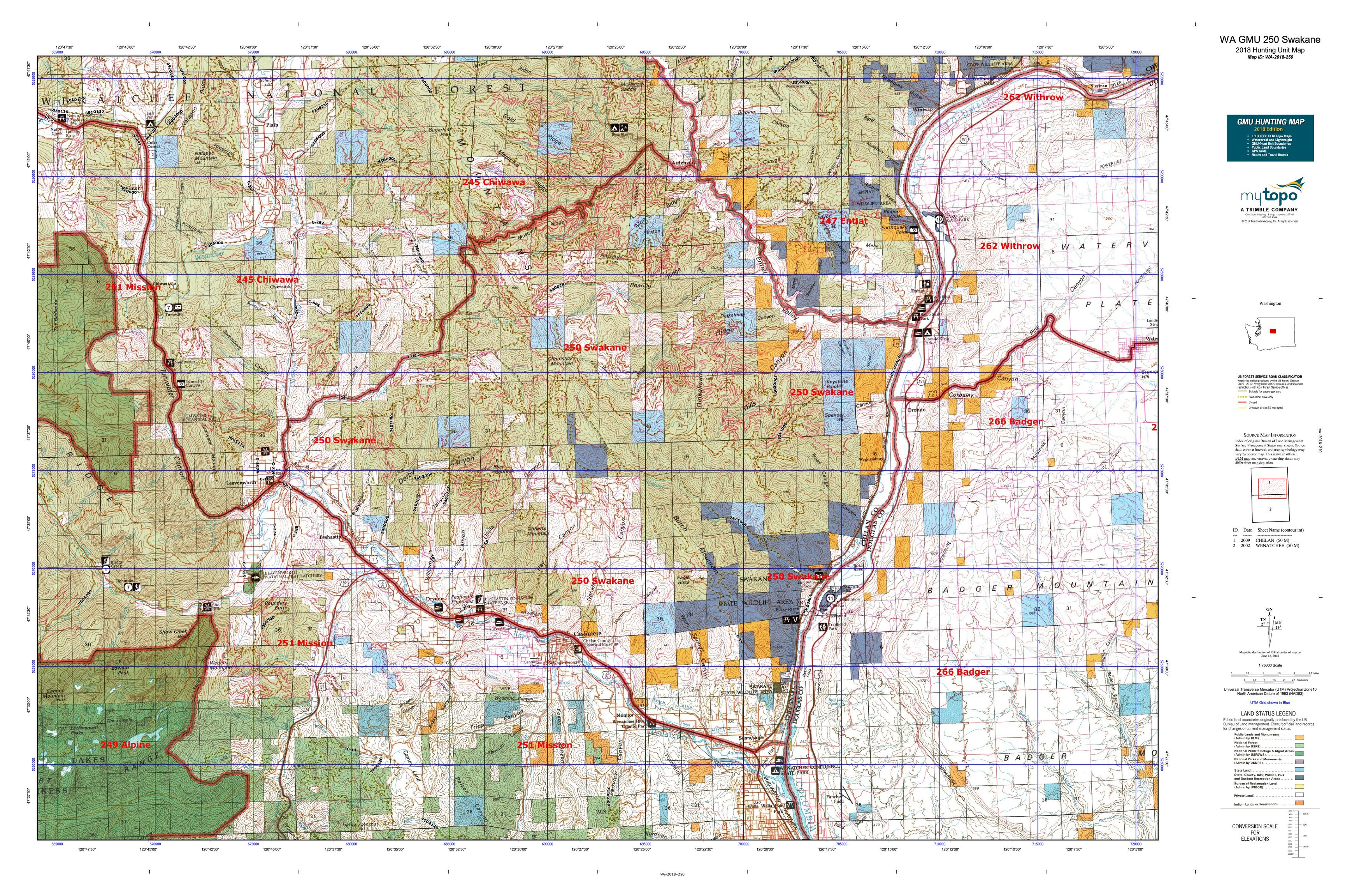 WA GMU 250 Swakane Map | MyTopo