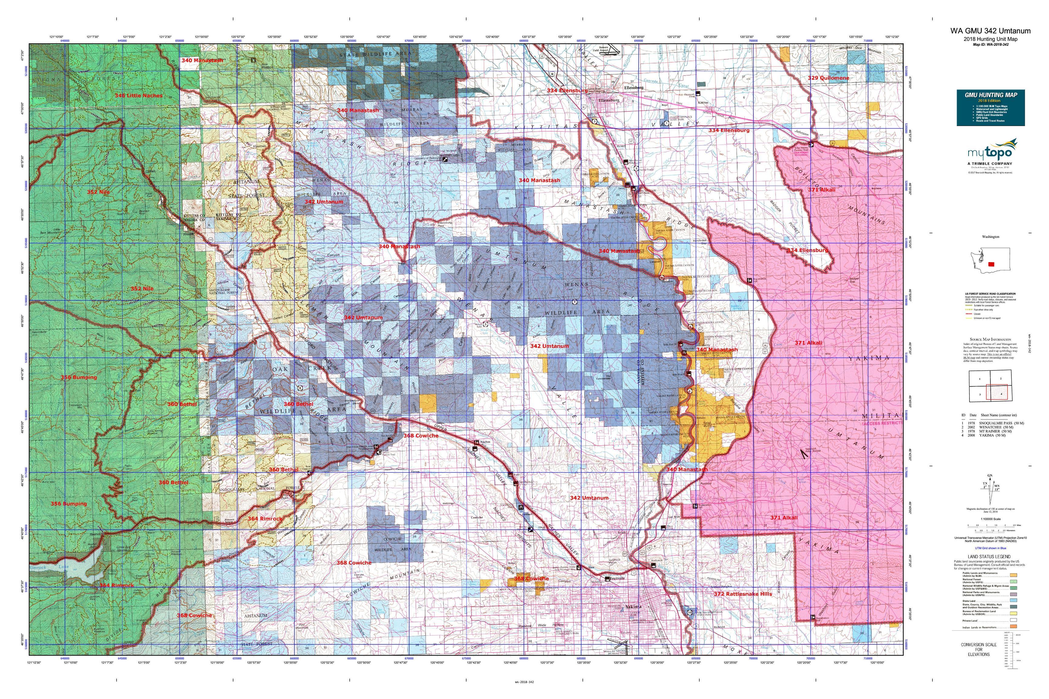 WA GMU 342 Umtanum Map | MyTopo