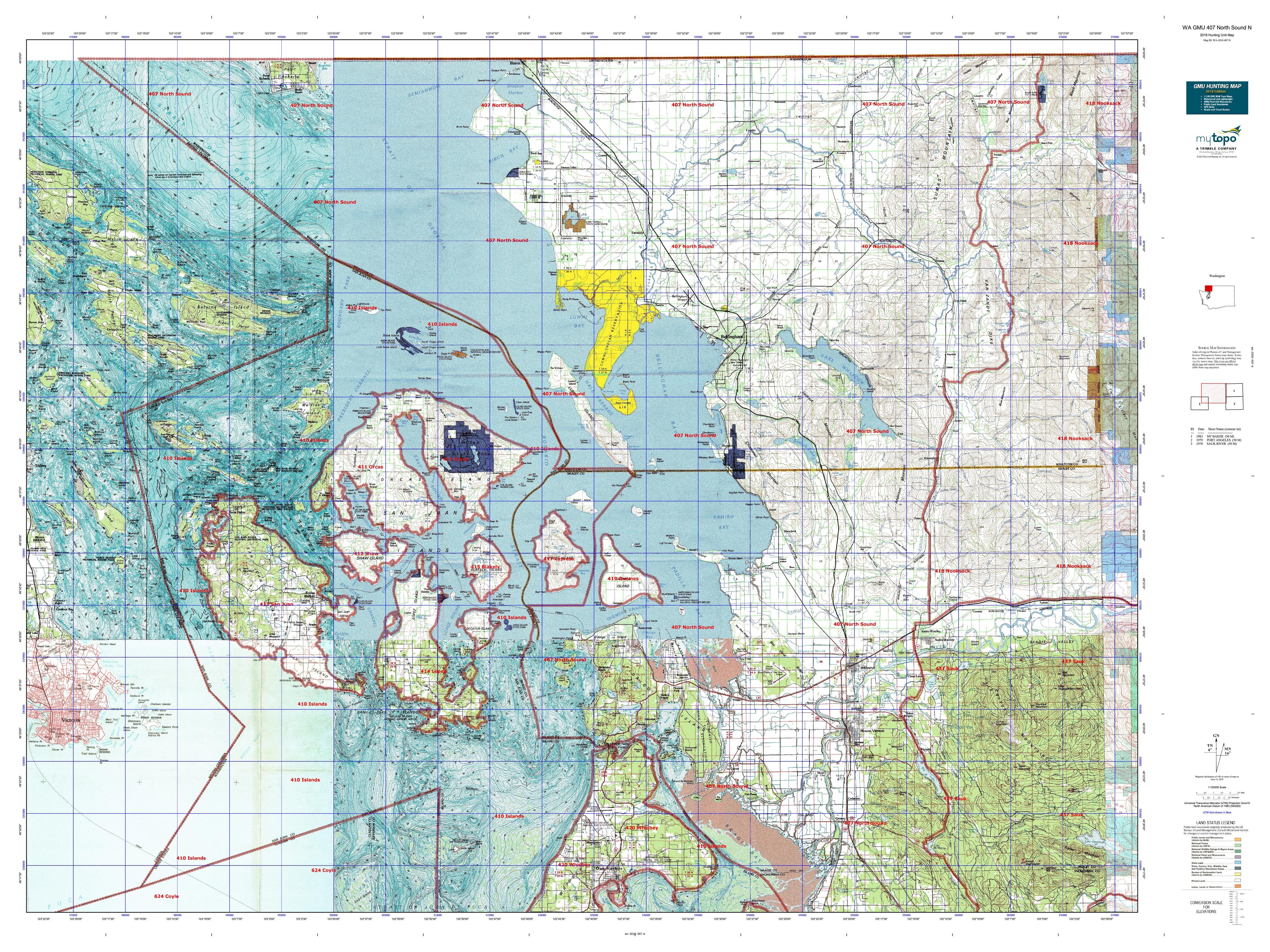 WA GMU 407 North Sound S Map | MyTopo