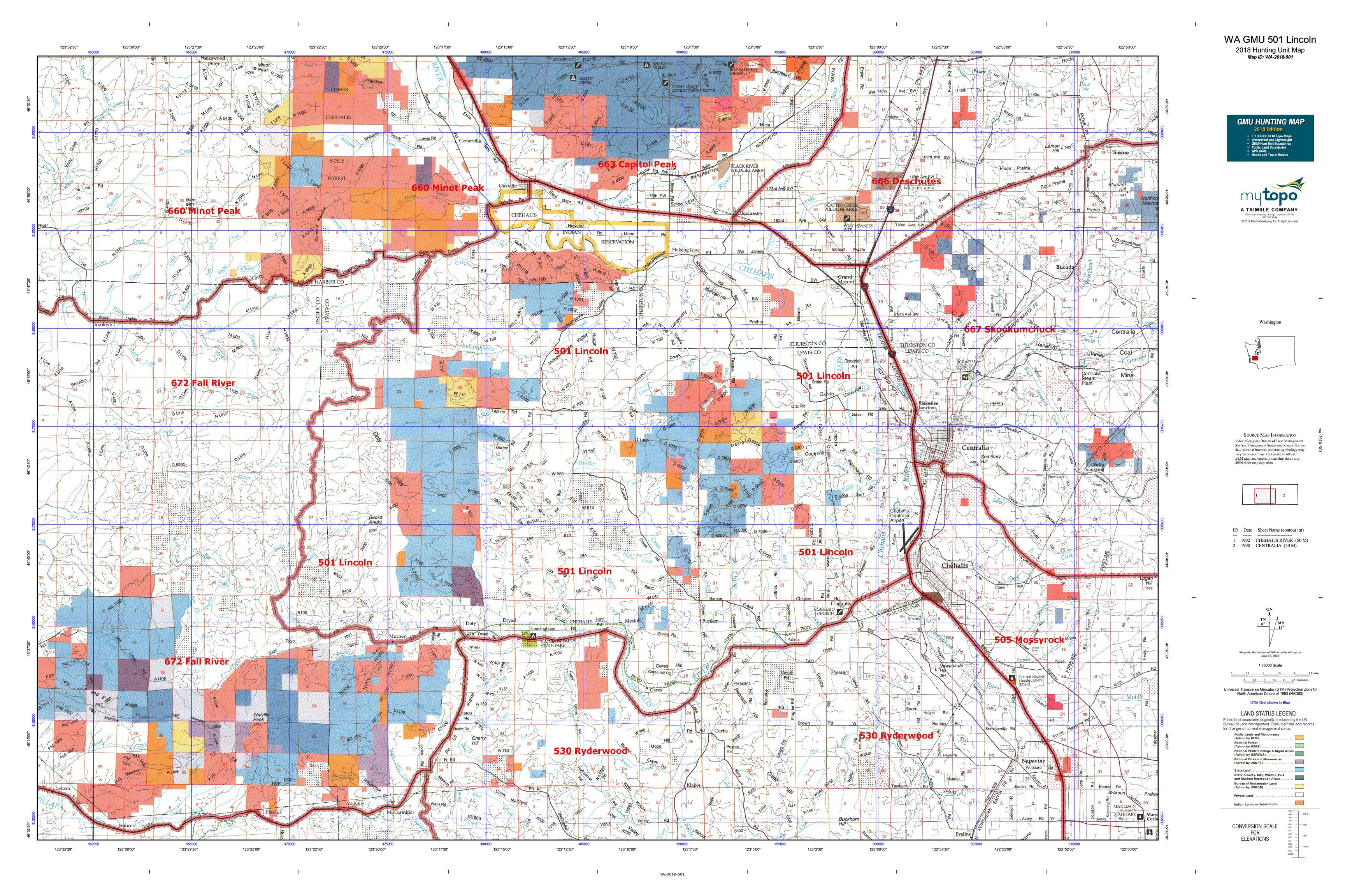 WA GMU 501 Lincoln Map | MyTopo