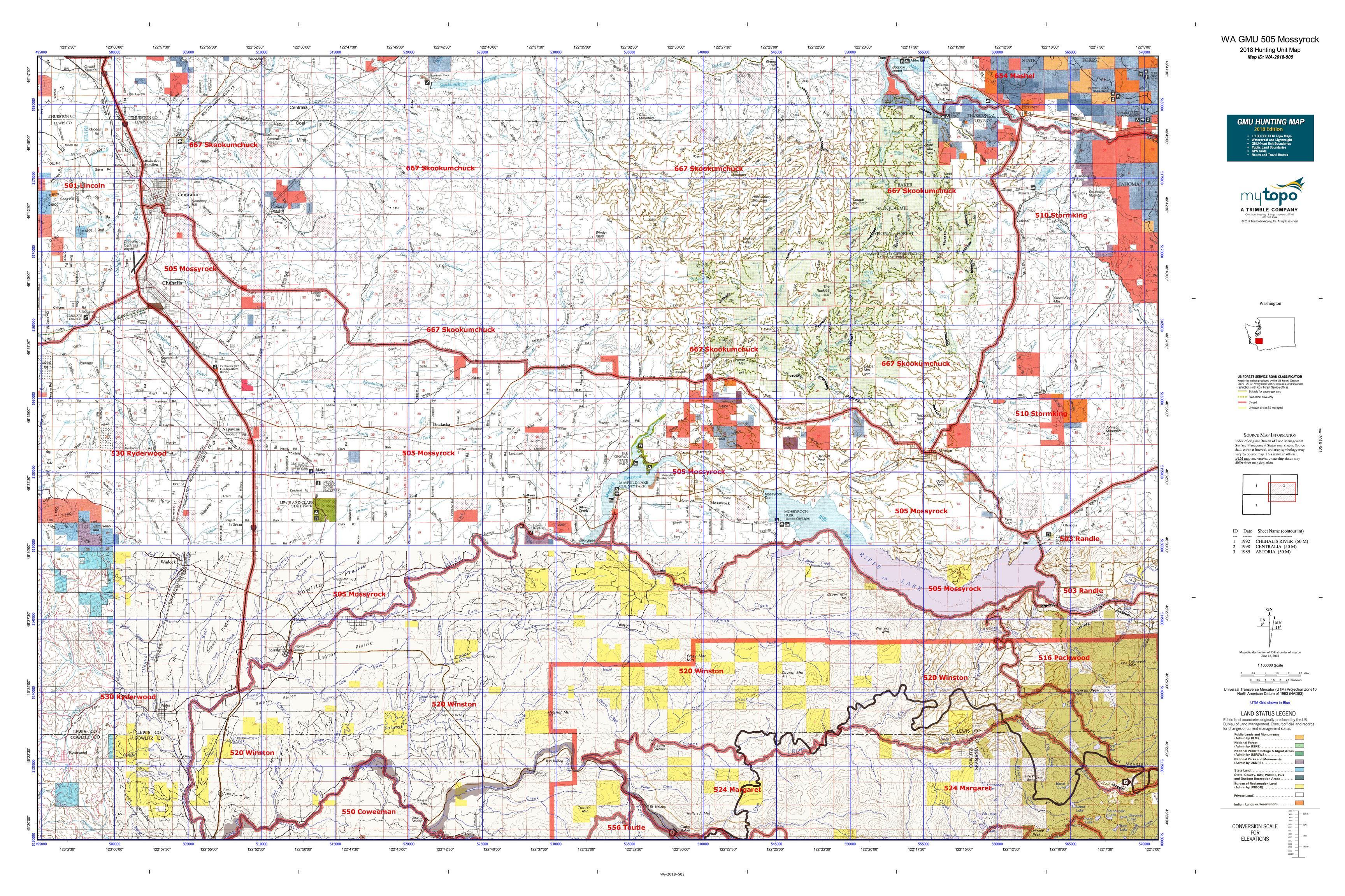 WA GMU 505 Mossyrock Map | MyTopo