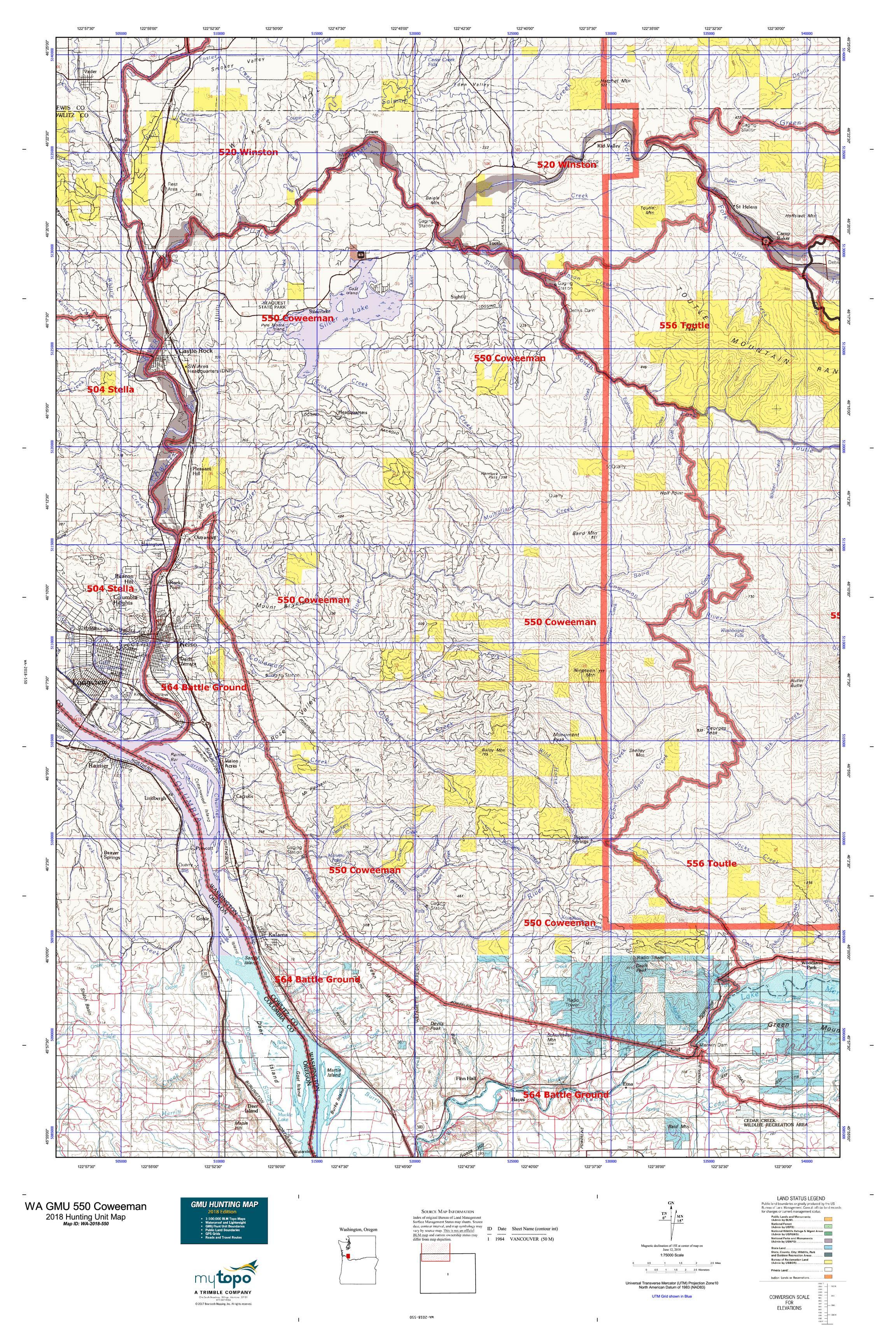 WA GMU 550 Coweeman Map | MyTopo