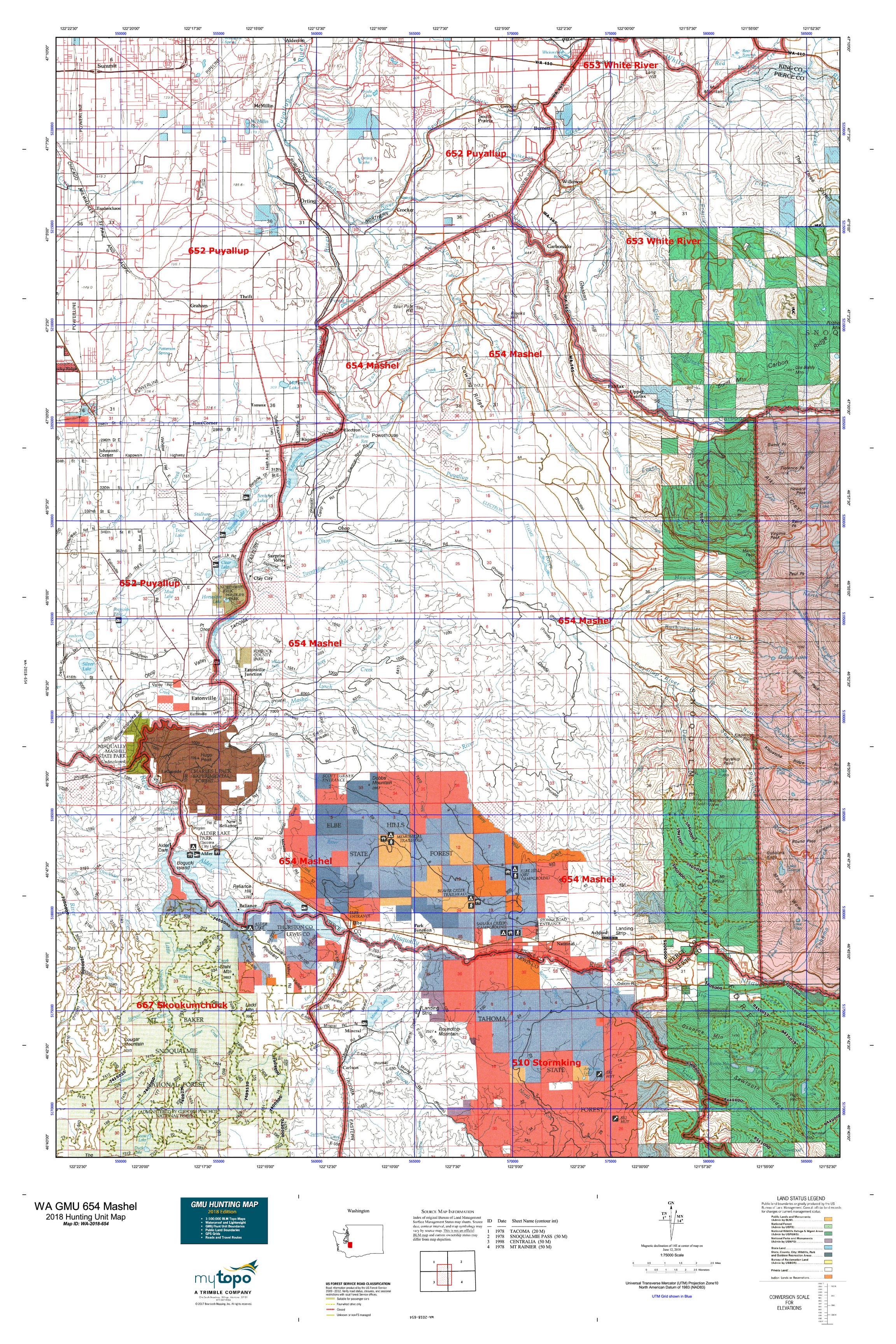 WA GMU 654 Mashel Map | MyTopo