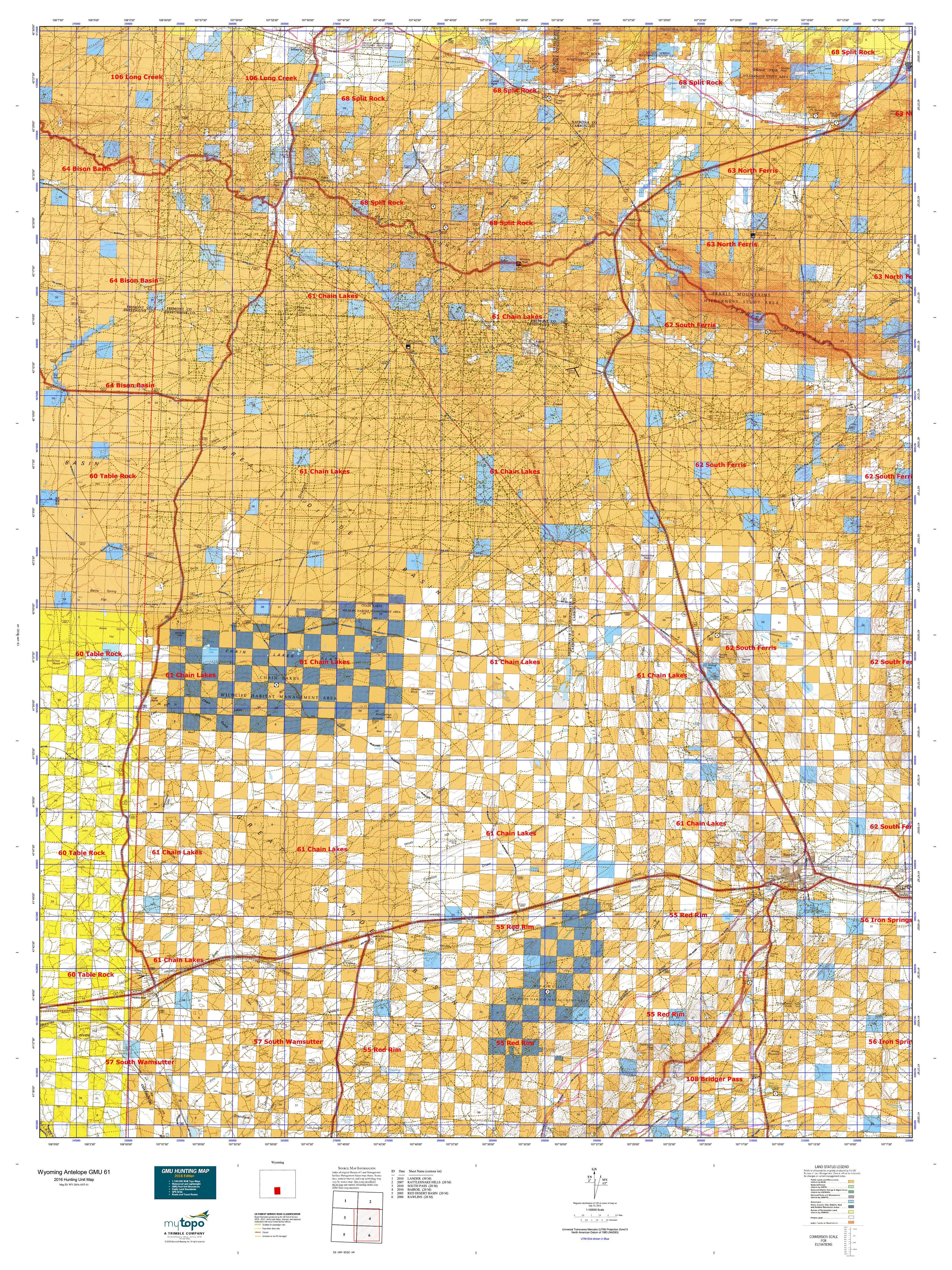 Wyoming Antelope GMU  Map MyTopo - Map of us 61