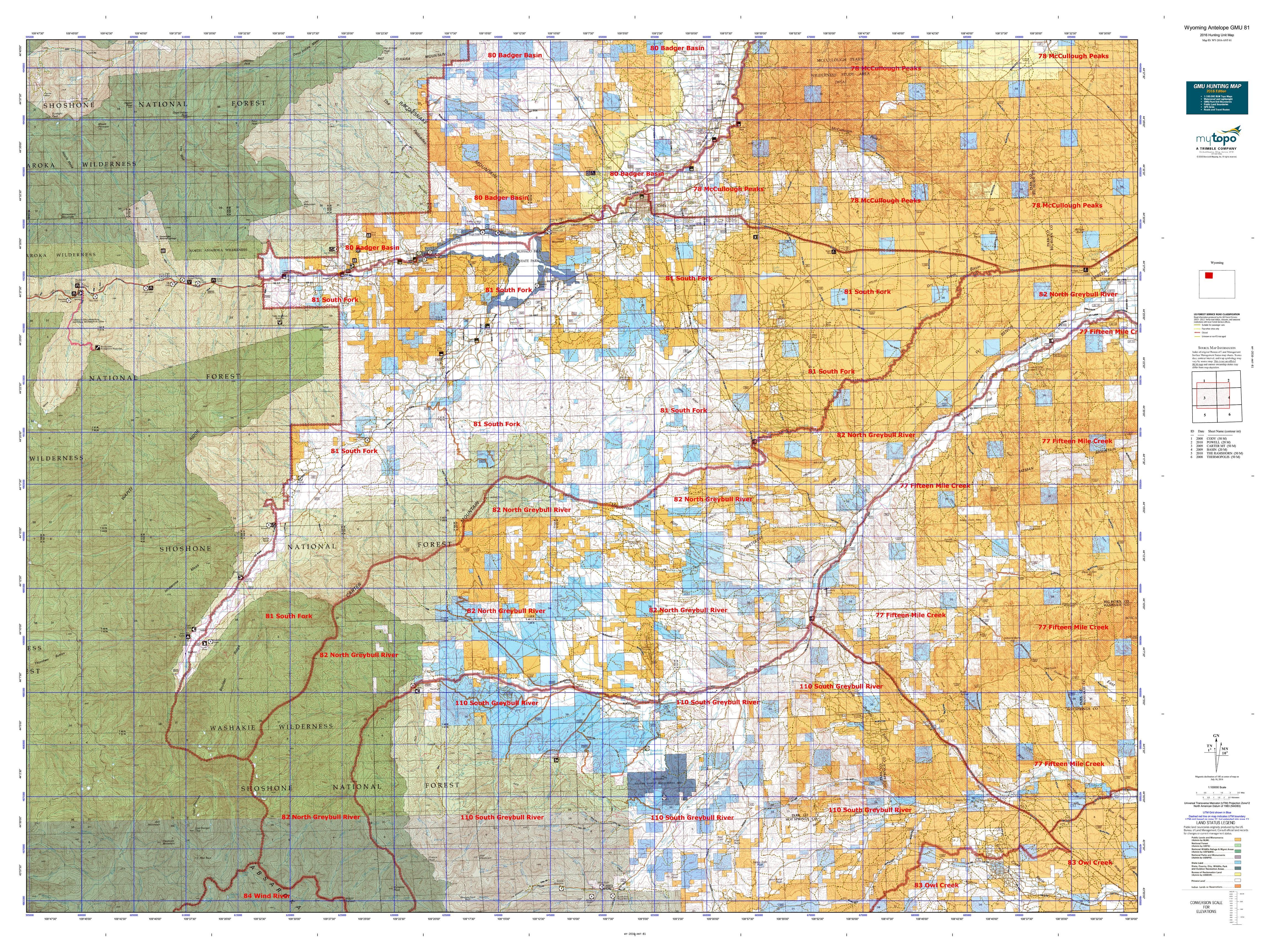 Wyoming Antelope GMU  Map MyTopo - Map us 81