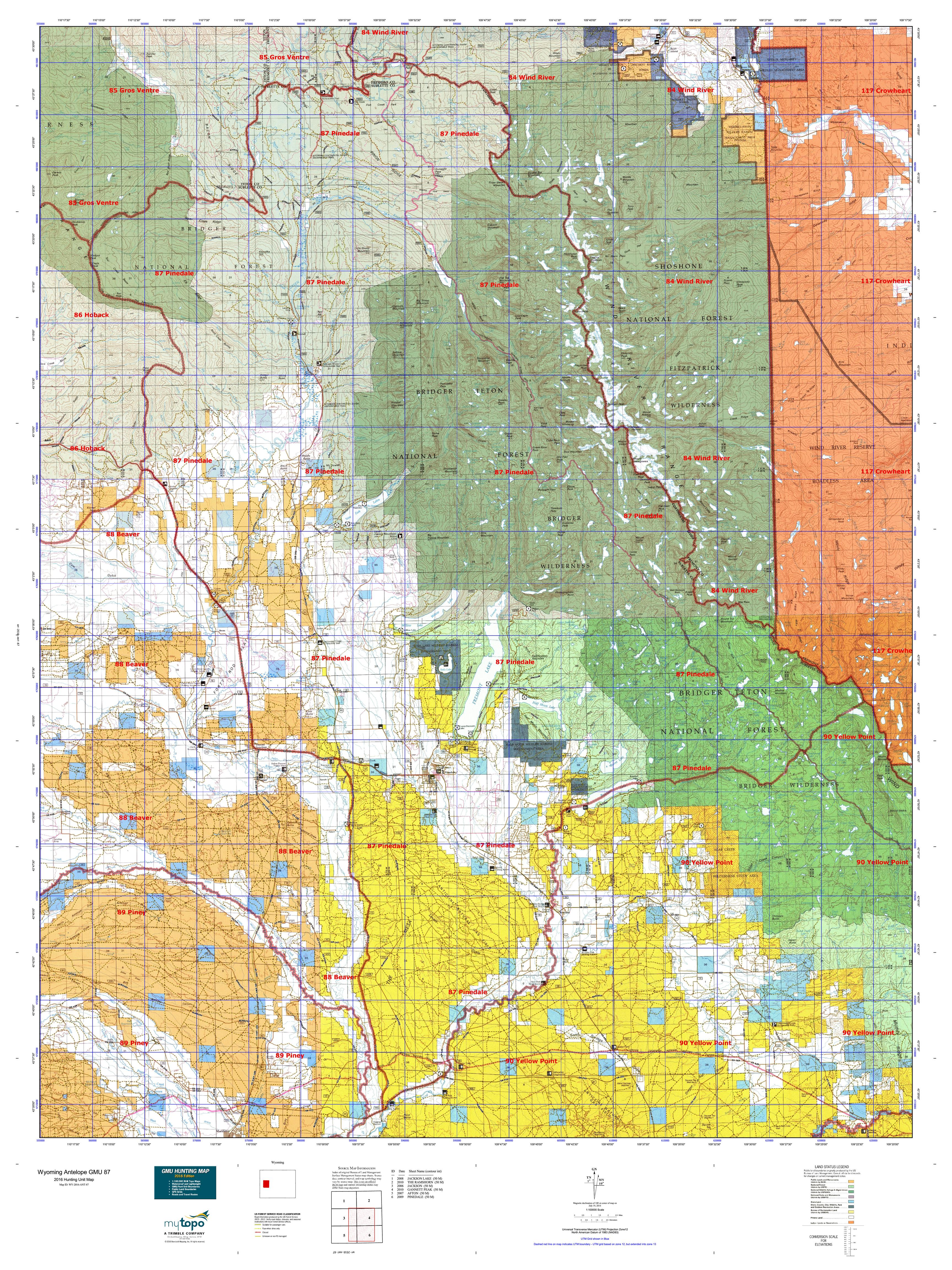 Wyoming Antelope GMU  Map MyTopo - Map of us 87