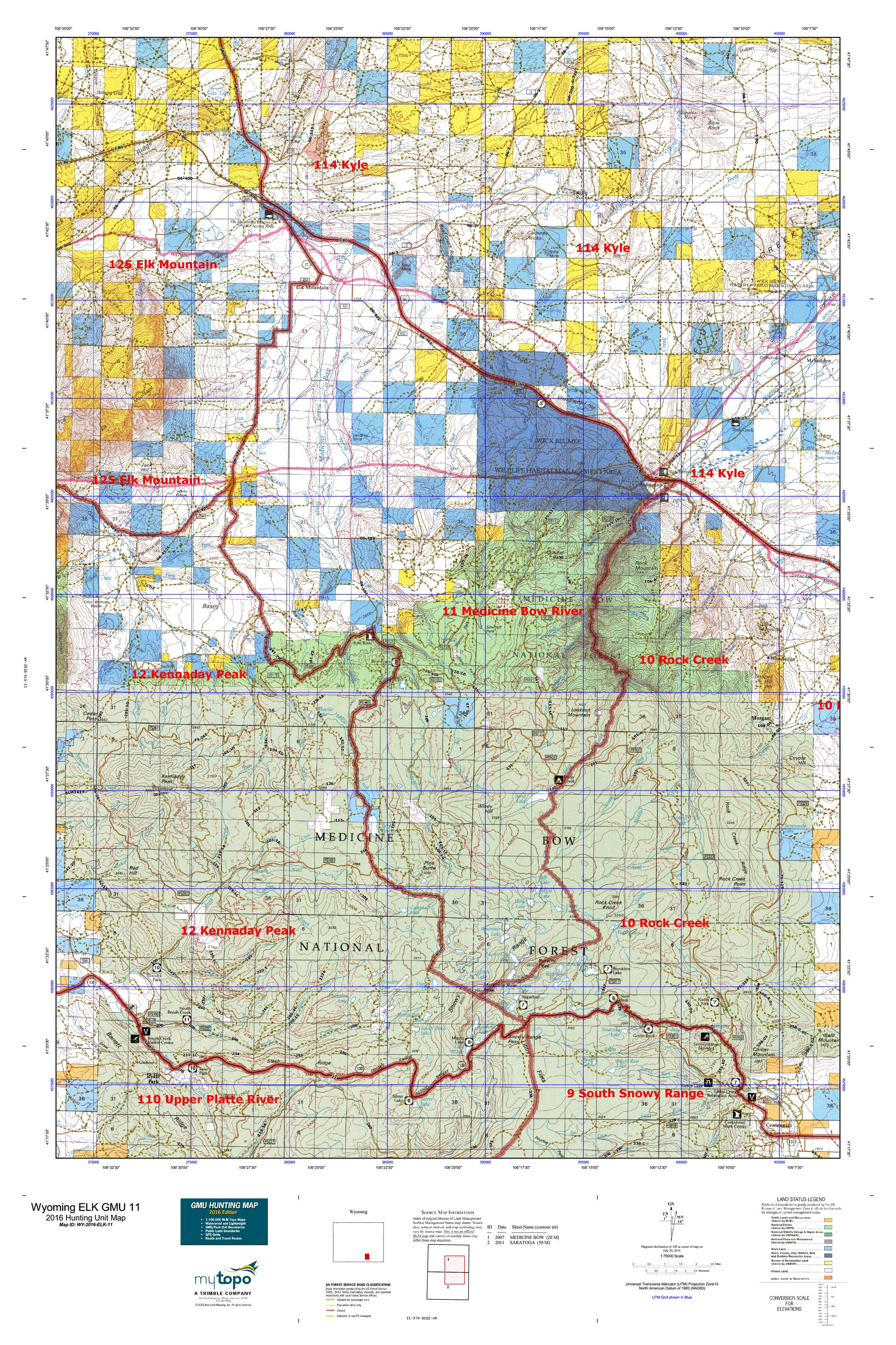Wyoming elk gmu 11 map mytopo for Best states for hunting and fishing