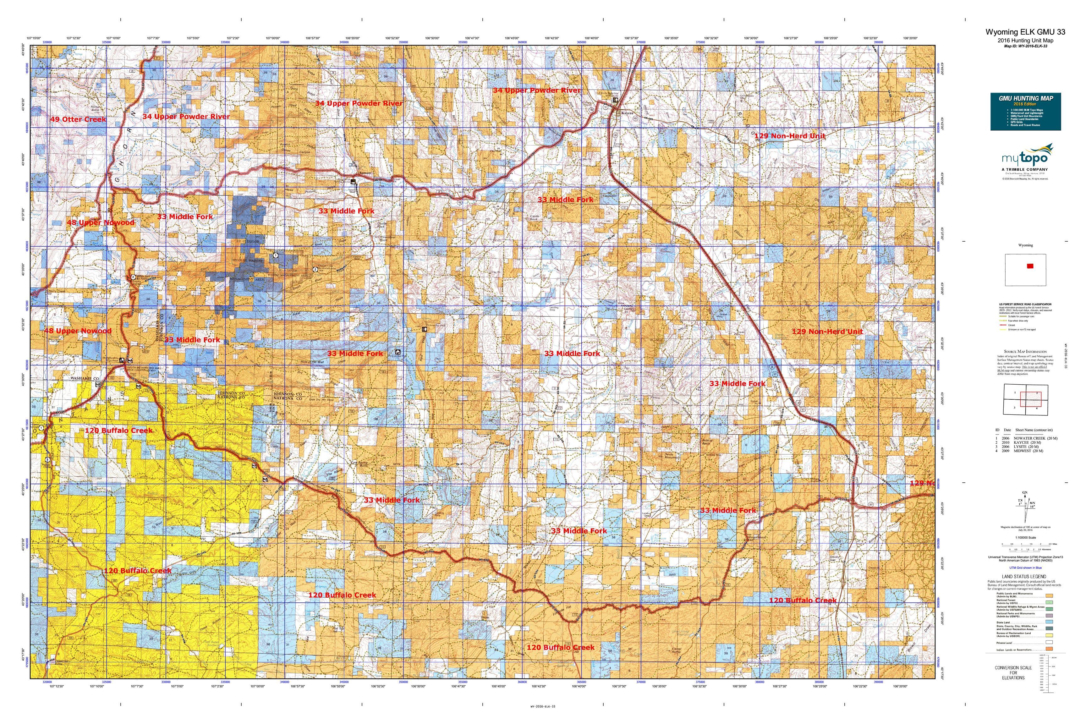 Wyoming ELK GMU 33 Map | MyTopo