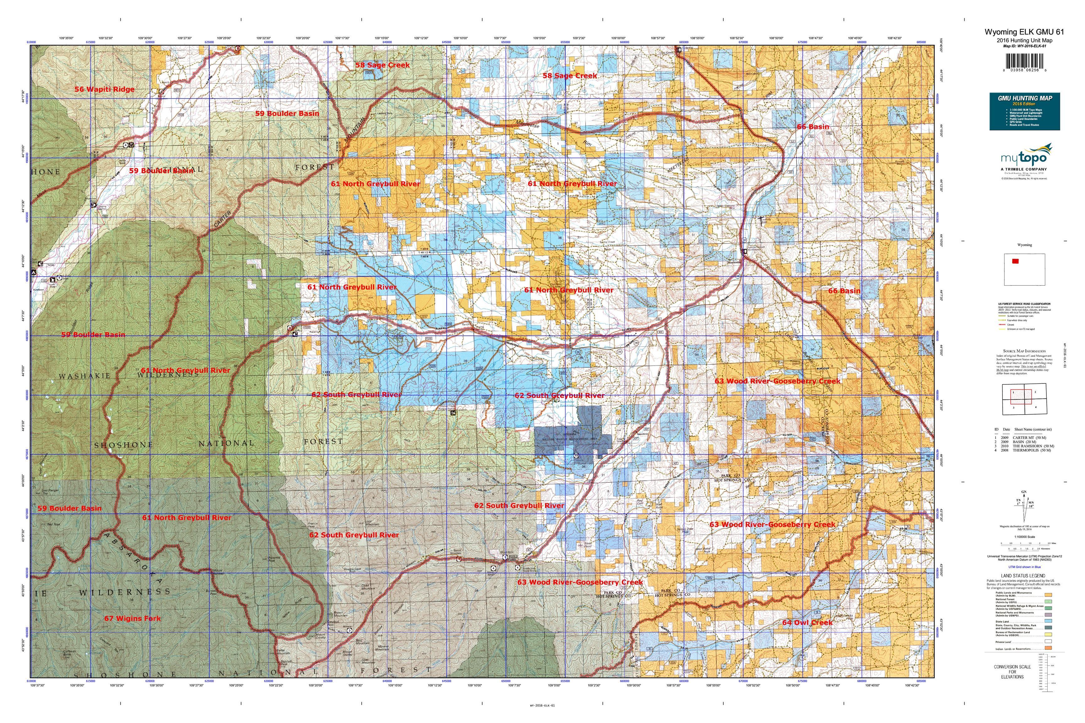 Wyoming ELK GMU  Map MyTopo - Map of us 61