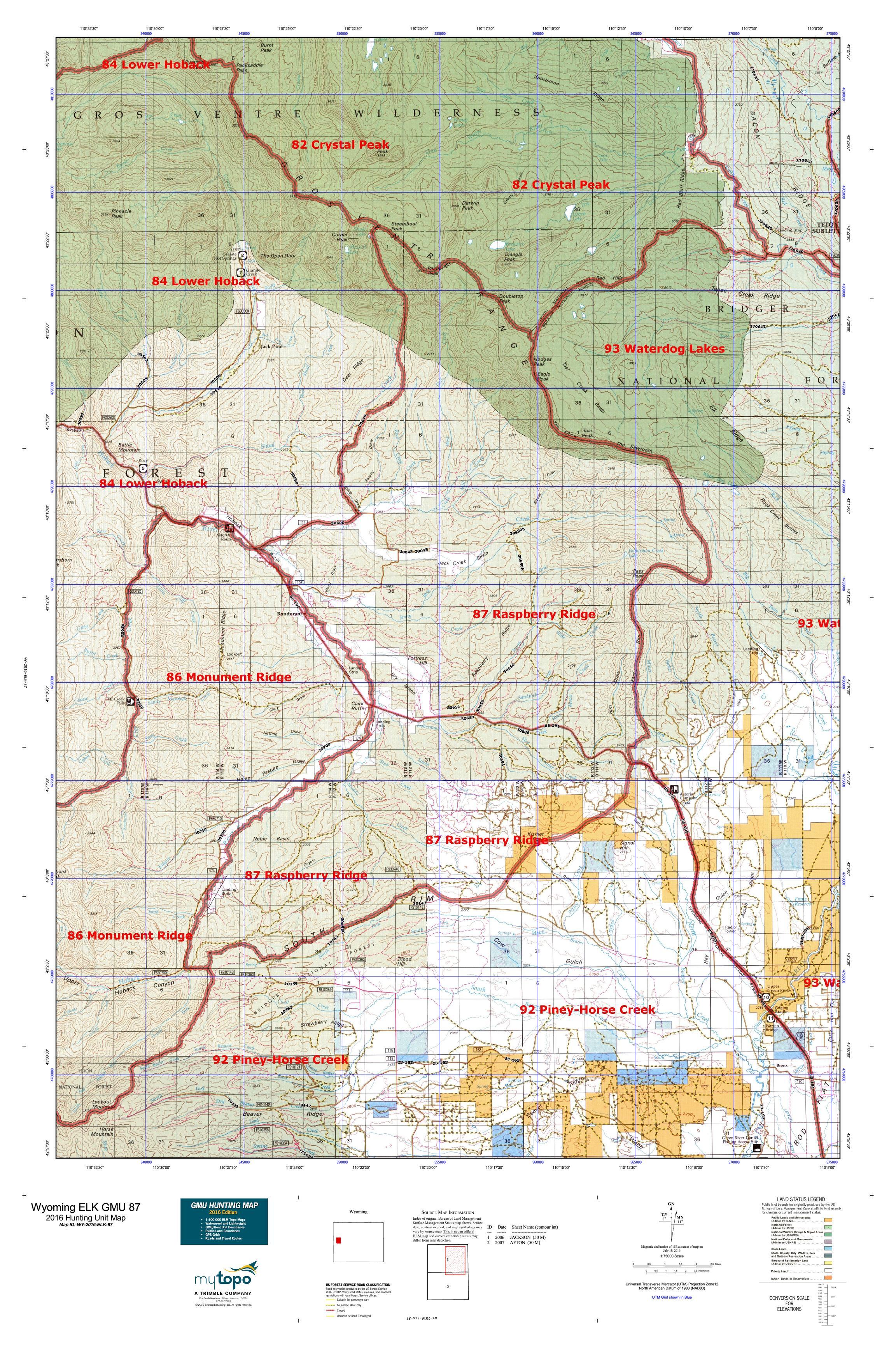 Wyoming ELK GMU  Map MyTopo - Map of us 87