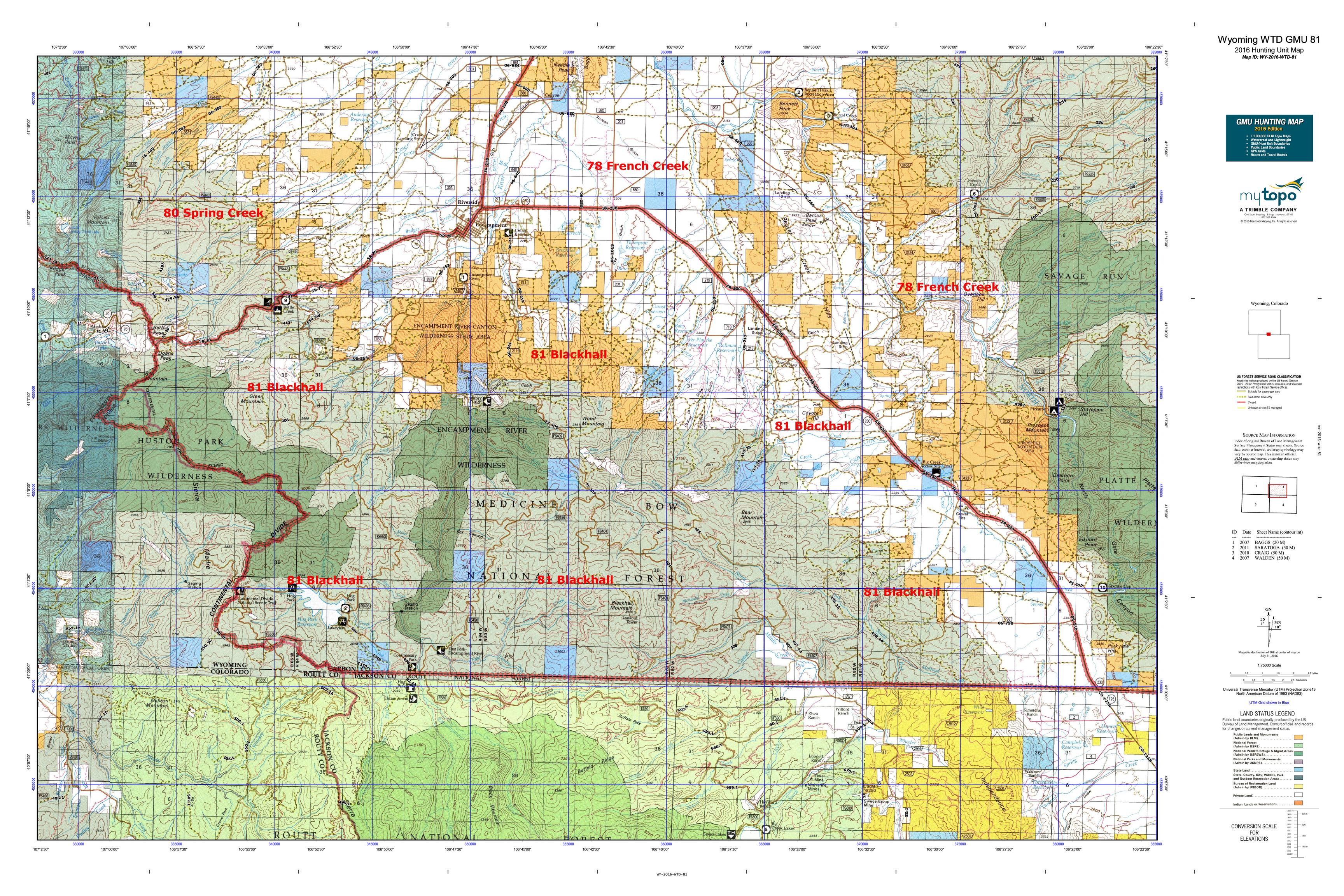 Wyoming WTD GMU  Map MyTopo - Map us 81