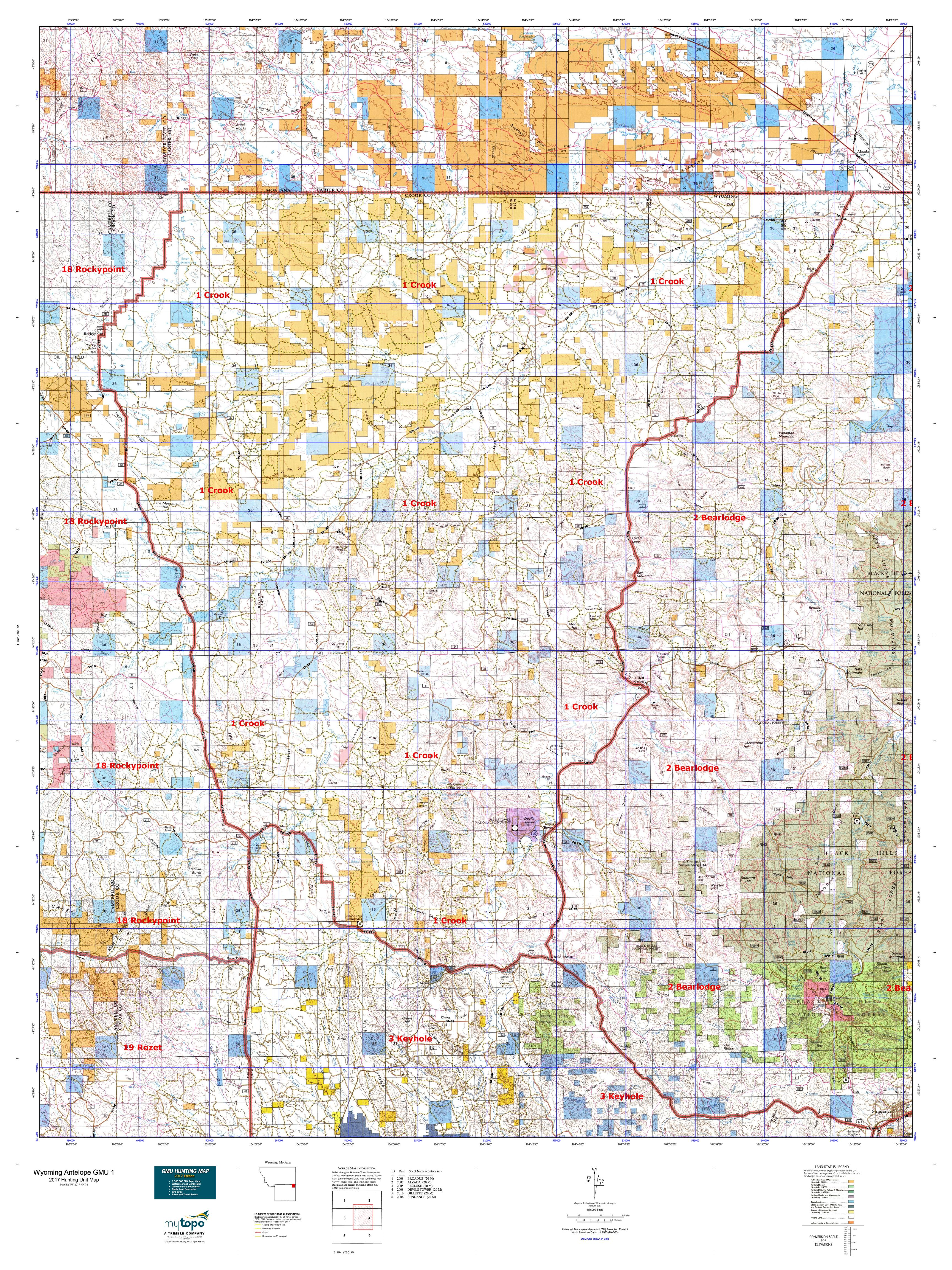 Wyoming Antelope GMU 1 Map MyTopo