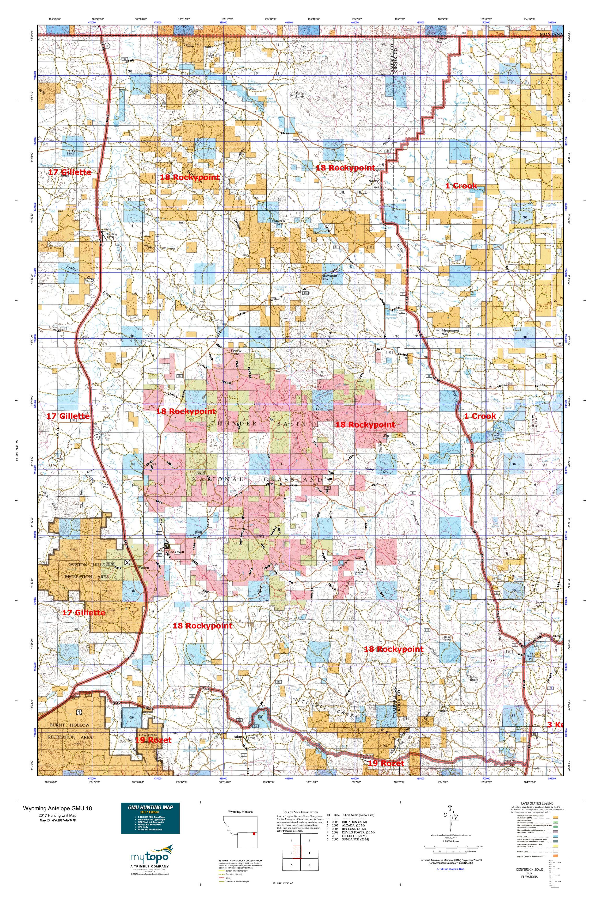 Wyoming Antelope GMU 18 Map MyTopo