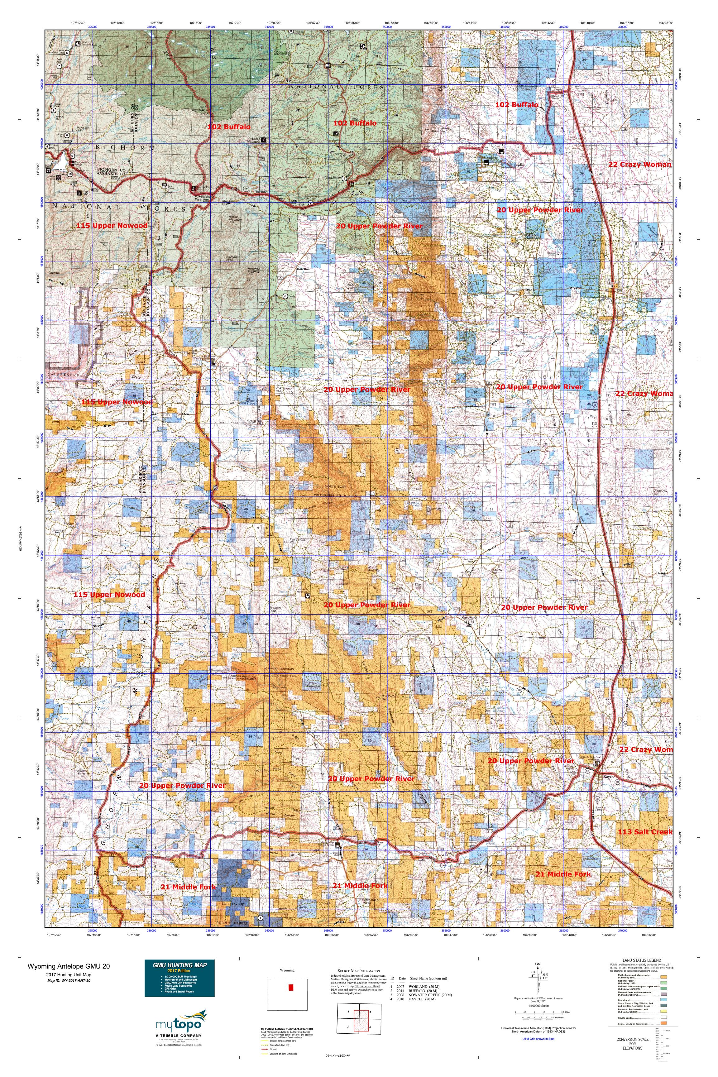 Wyoming Antelope GMU 20 Map MyTopo