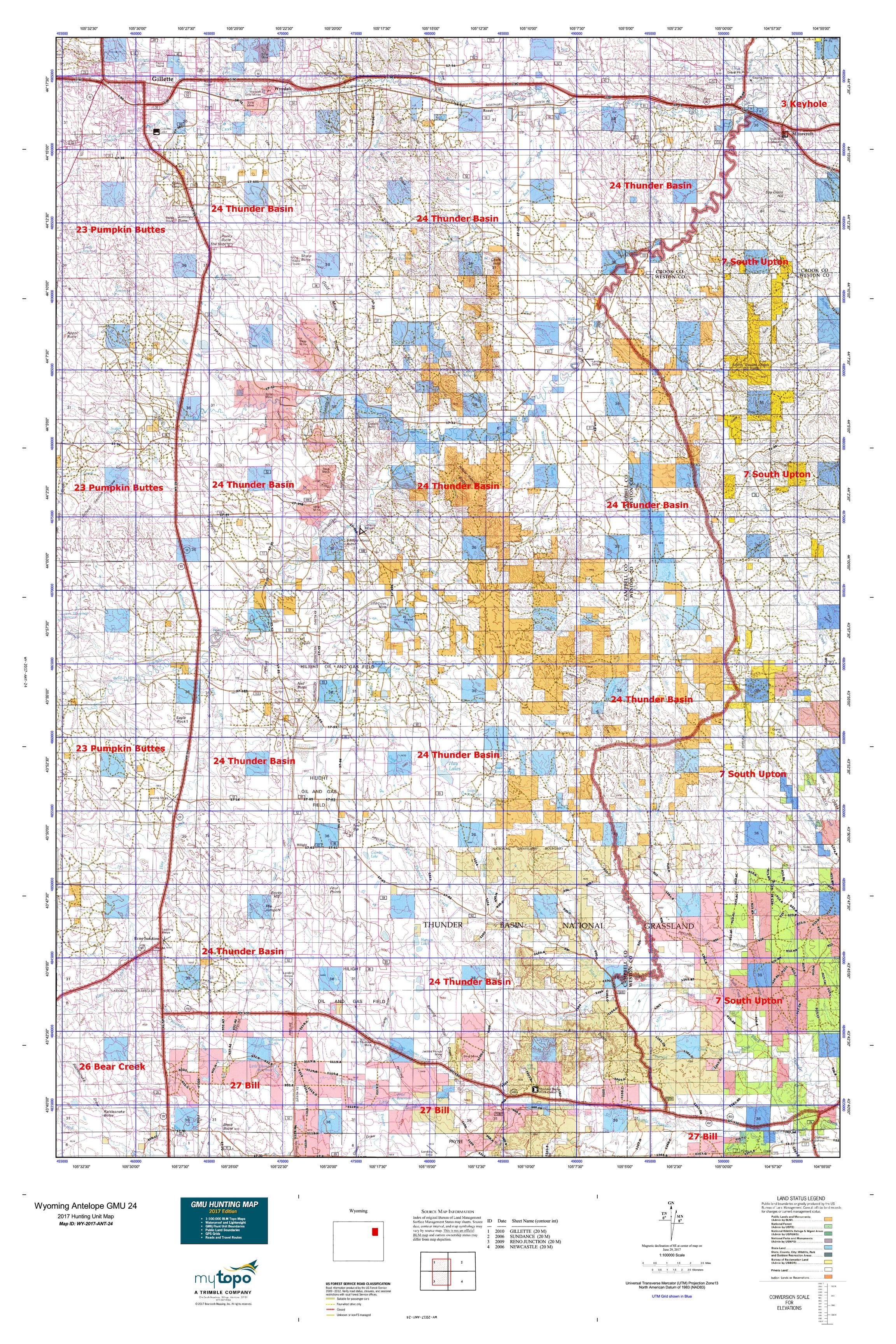 Wyoming Antelope GMU Map MyTopo - Wyoming us map