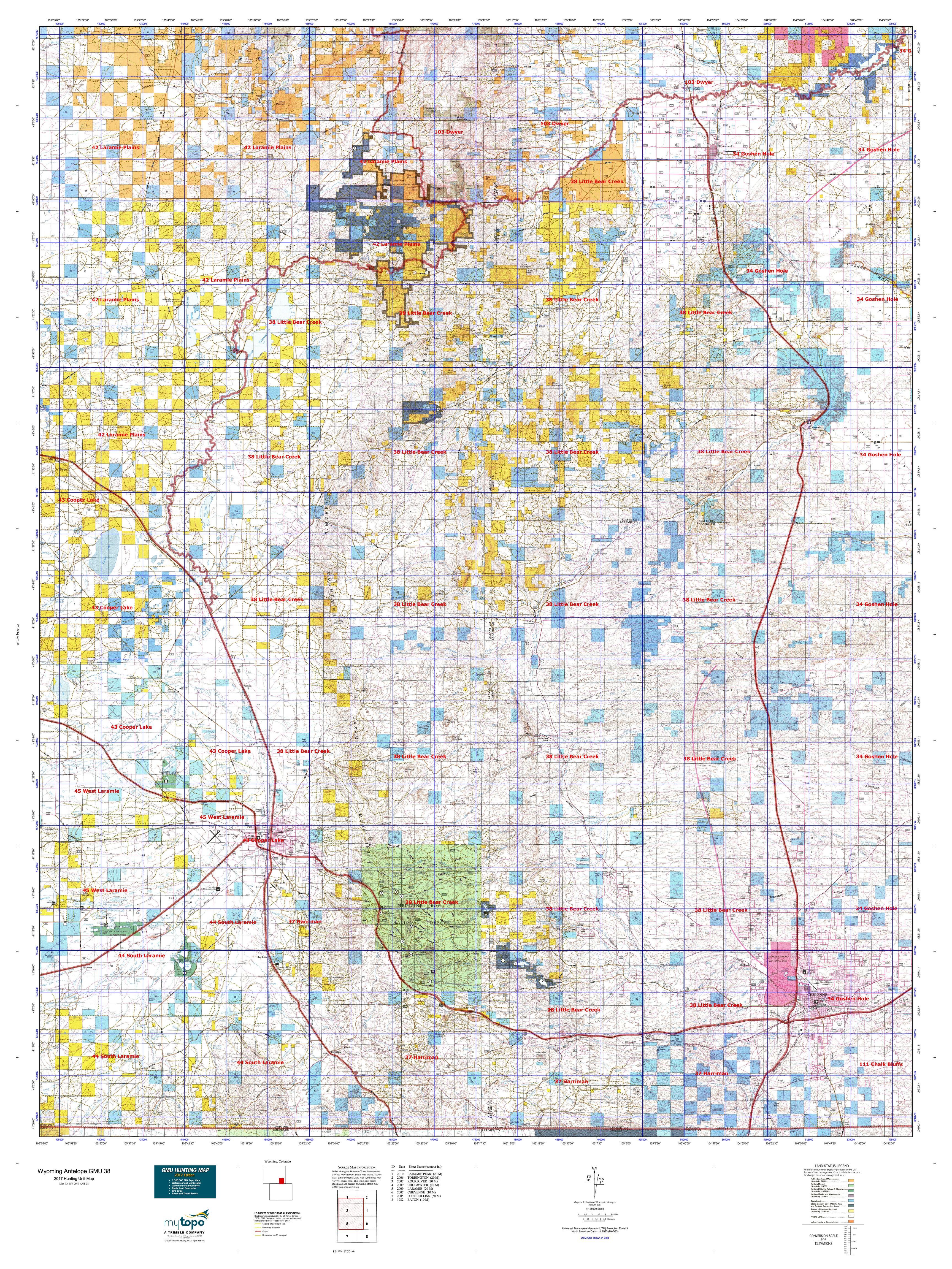 Wyoming Antelope GMU Map MyTopo - Wy map