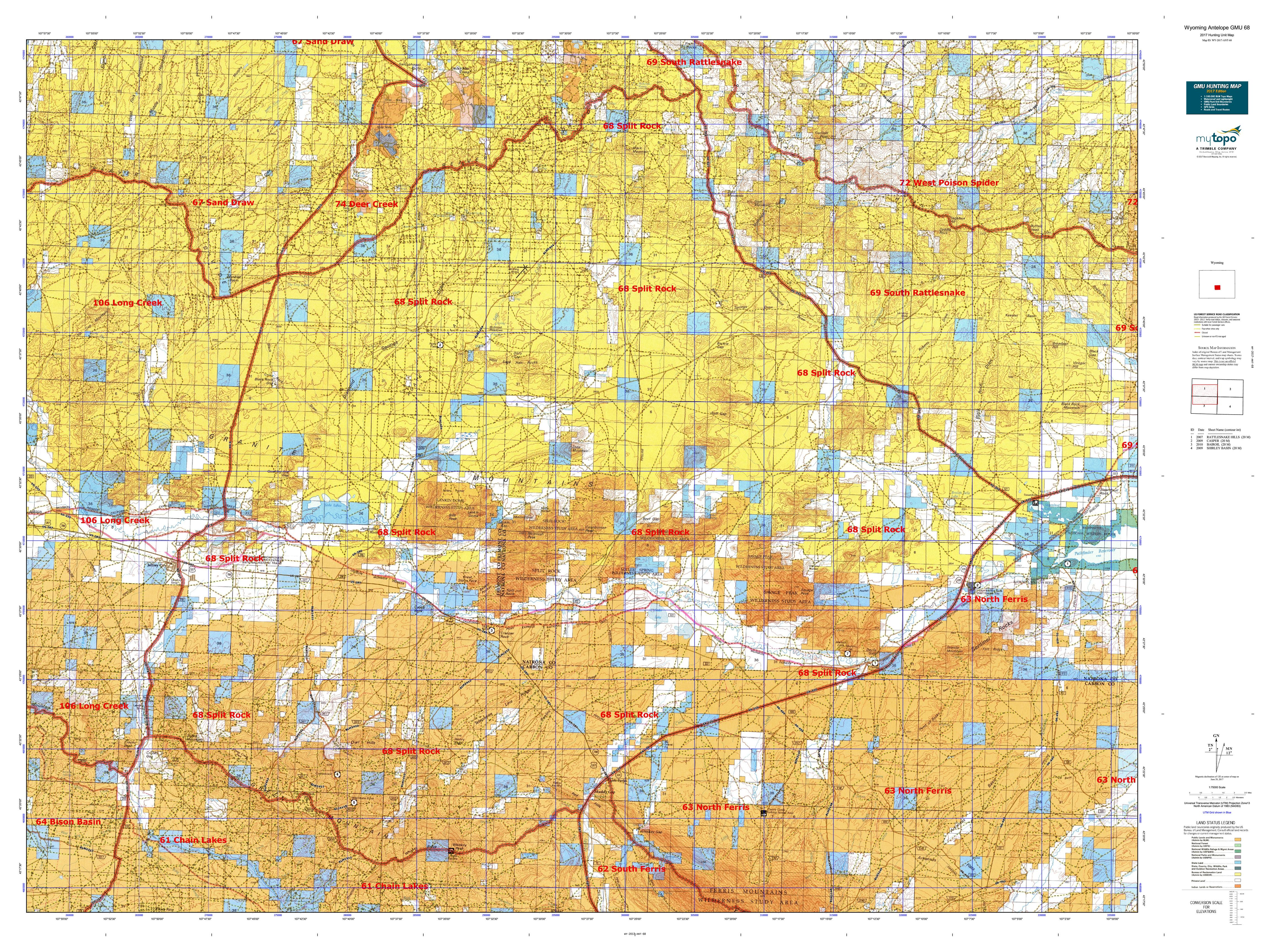 Wyoming Antelope GMU Map MyTopo - Us 68 map