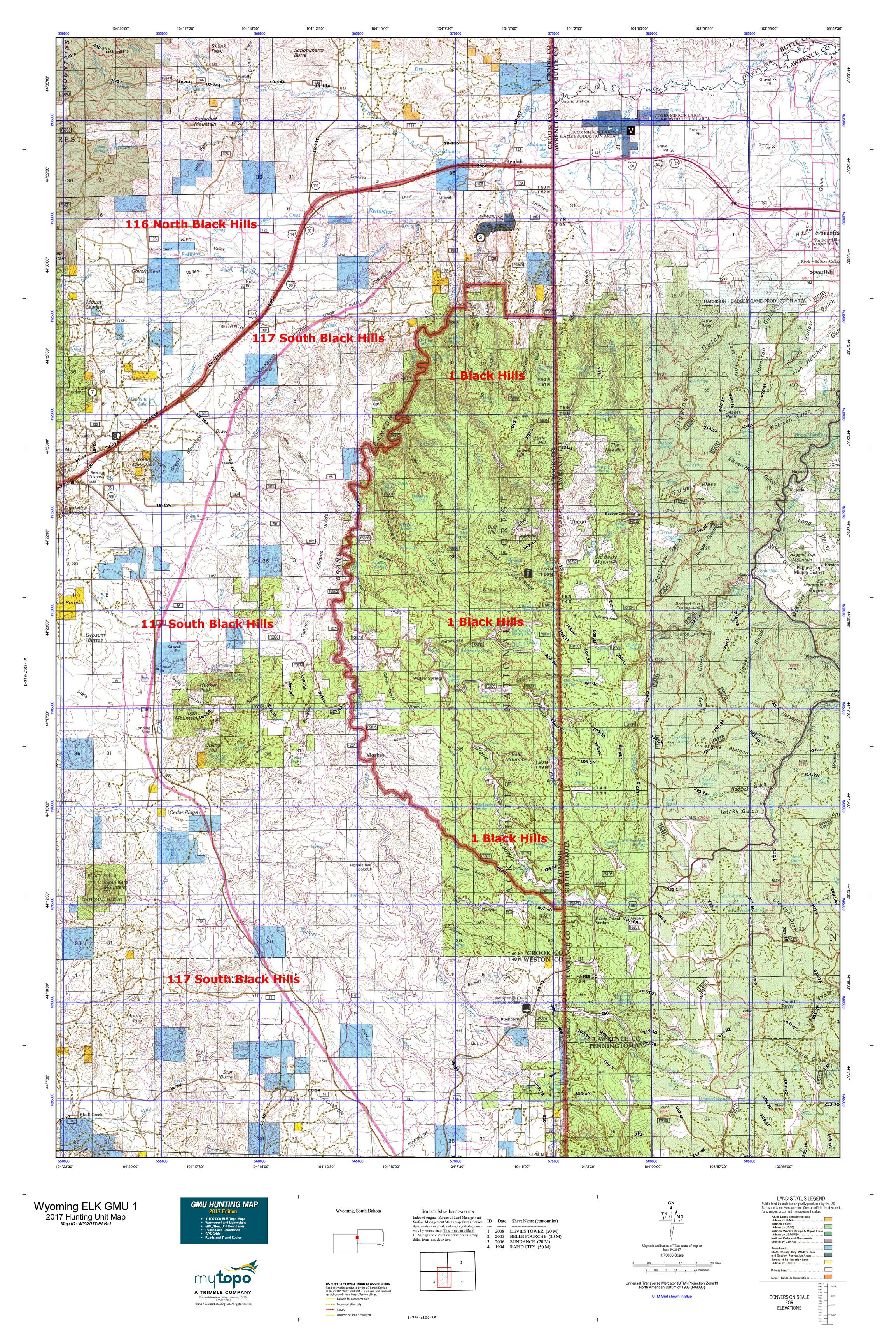 Wyoming ELK GMU Map MyTopo - Wyoming map