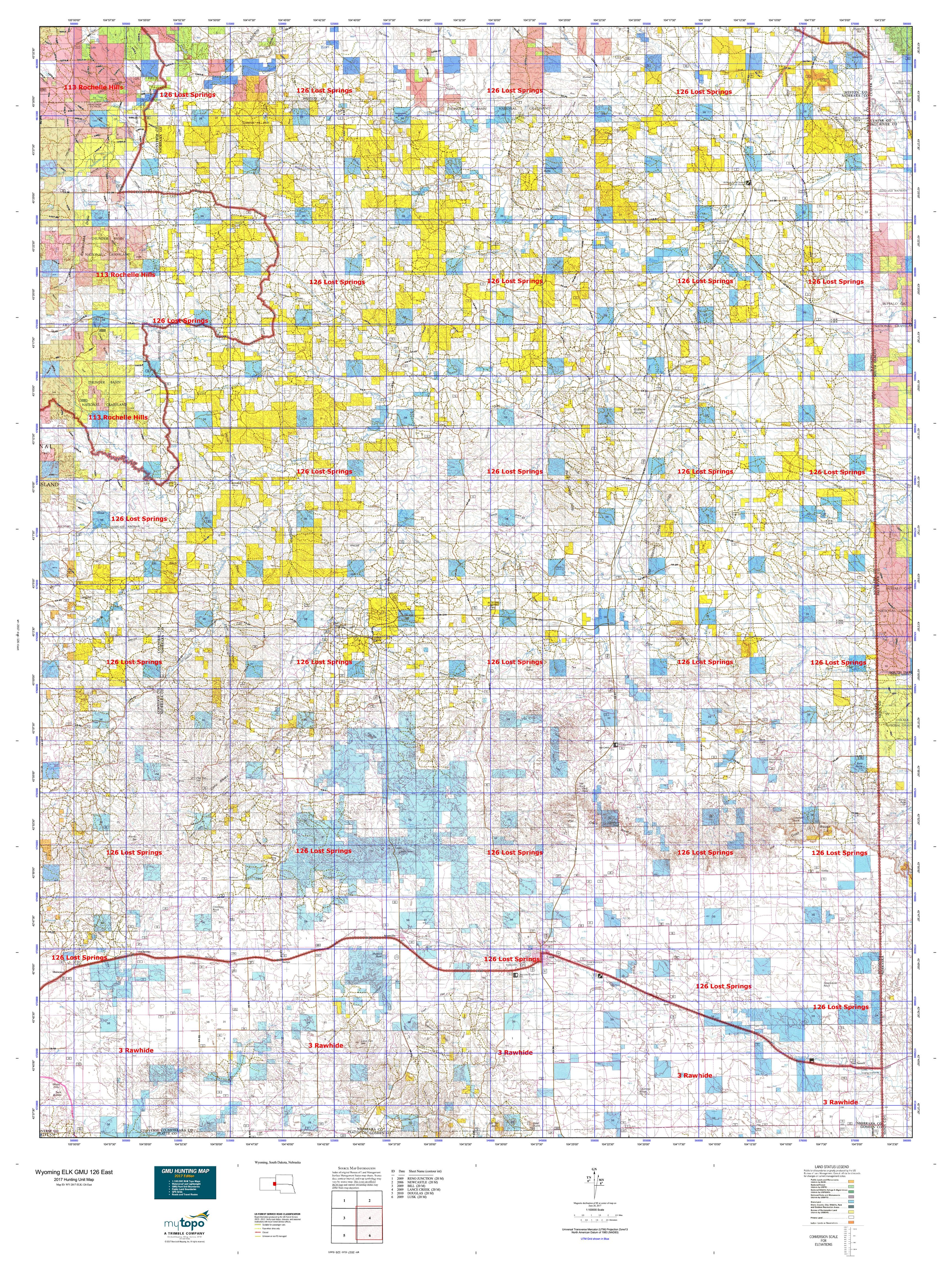 Wyoming ELK GMU East Map MyTopo - Wy map