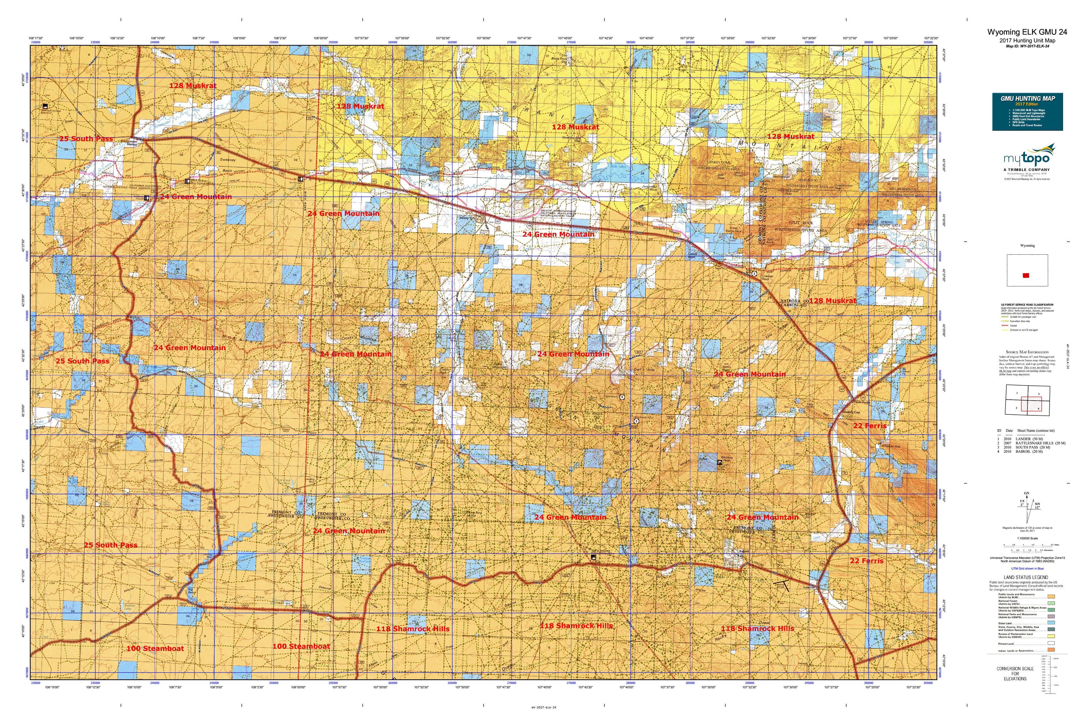Wyoming ELK GMU Map MyTopo - Wy map