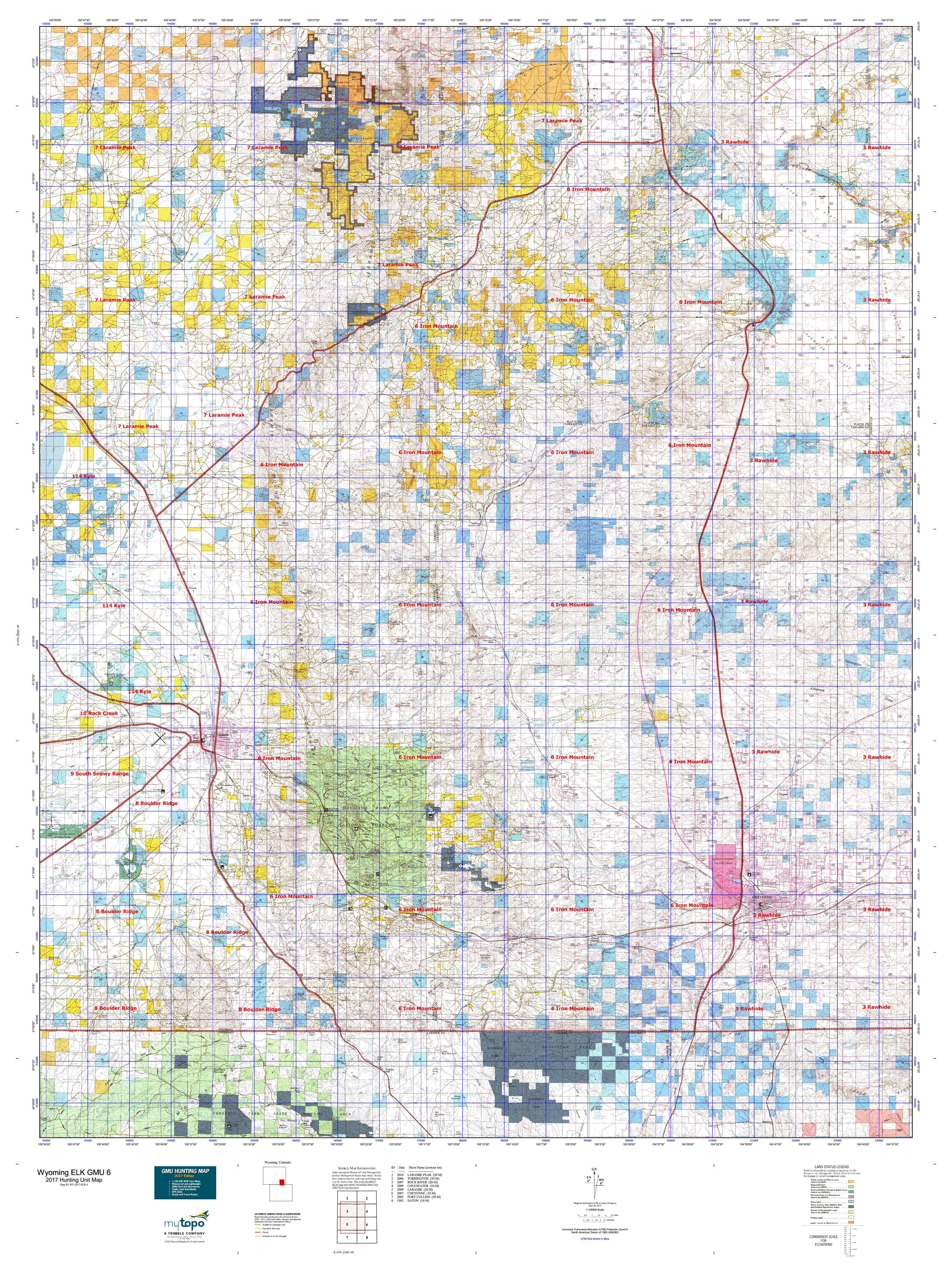 Wyoming ELK GMU Map MyTopo - Map of wy
