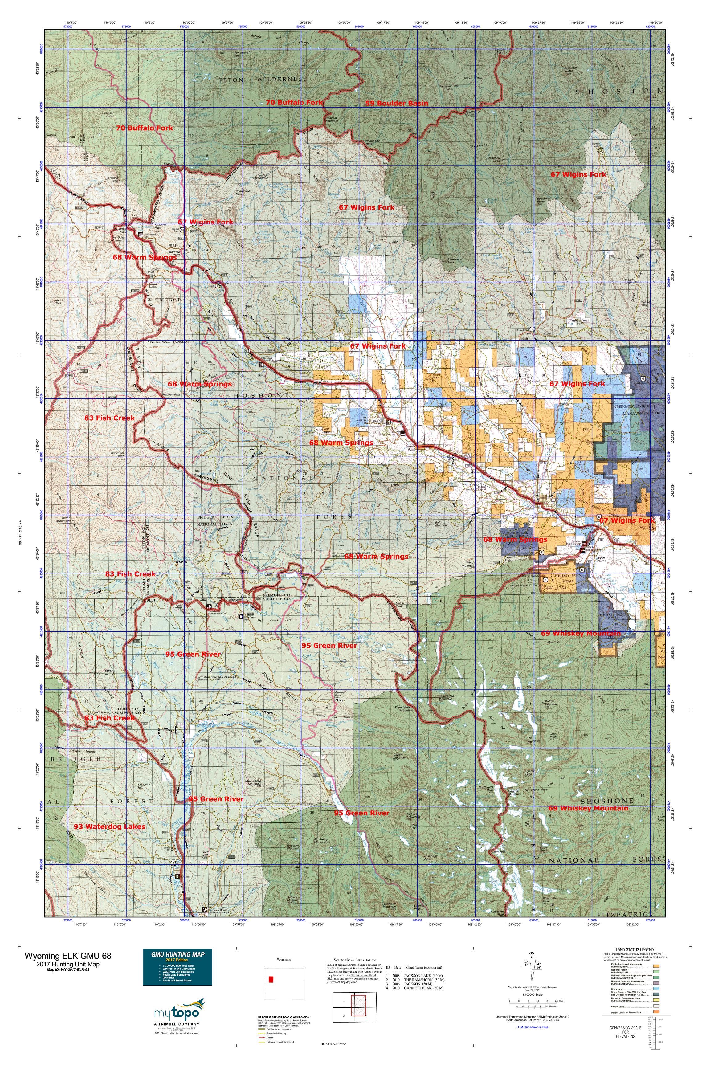 Wyoming ELK GMU Map MyTopo - Us 68 map