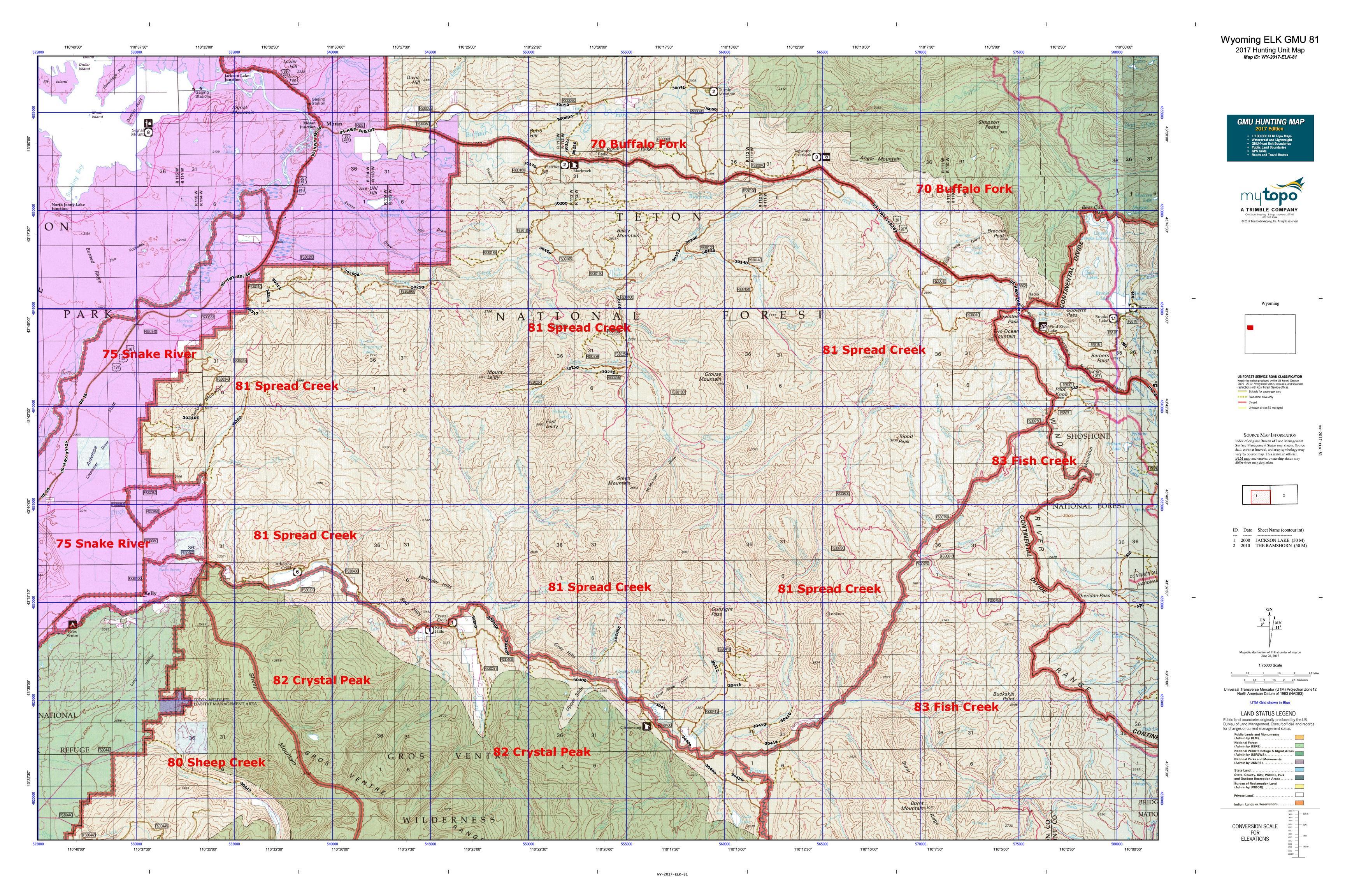 Wyoming ELK GMU Map MyTopo - Us map wyoming