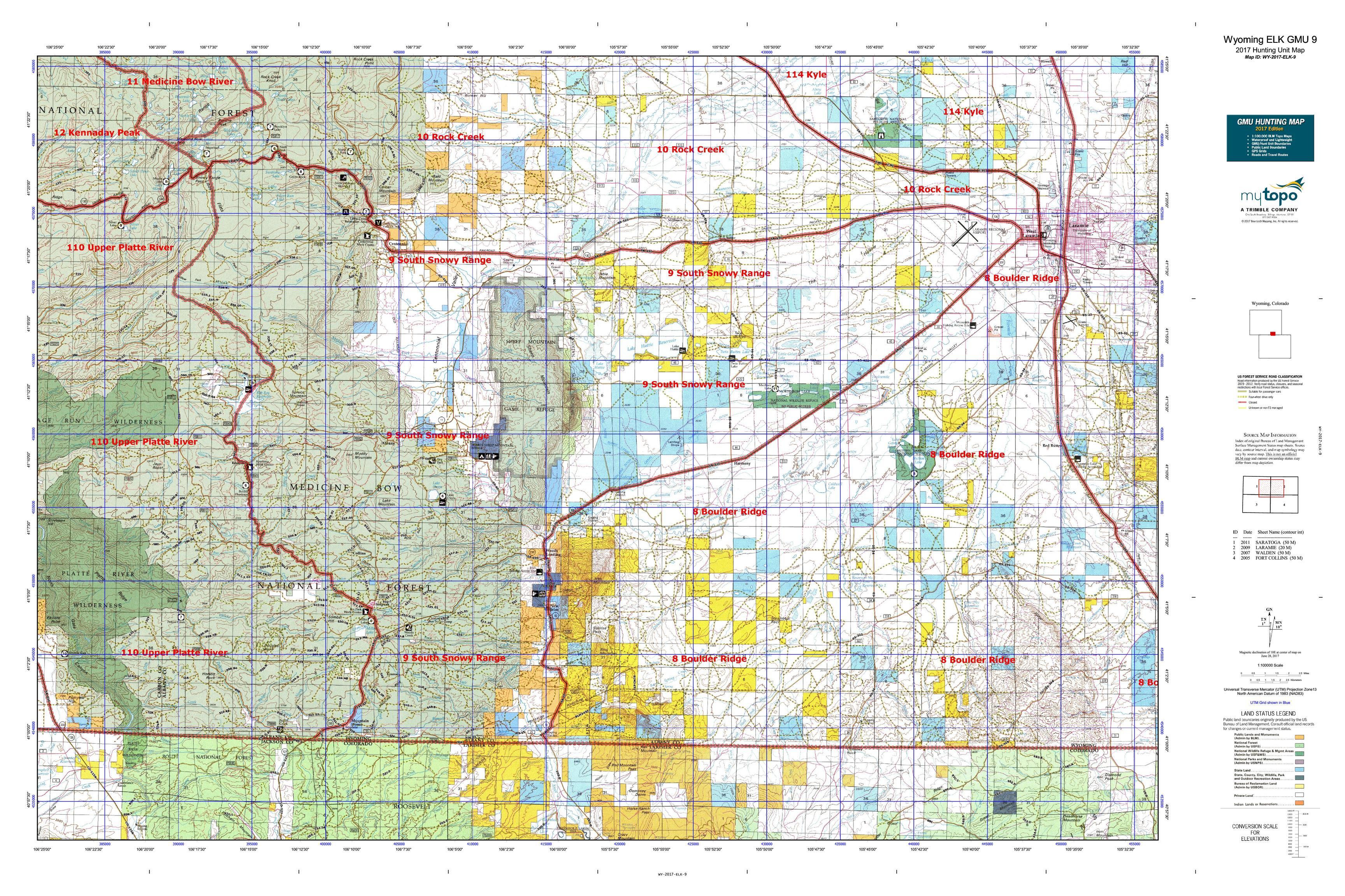Wyoming ELK GMU Map MyTopo - Detailed map of wyoming