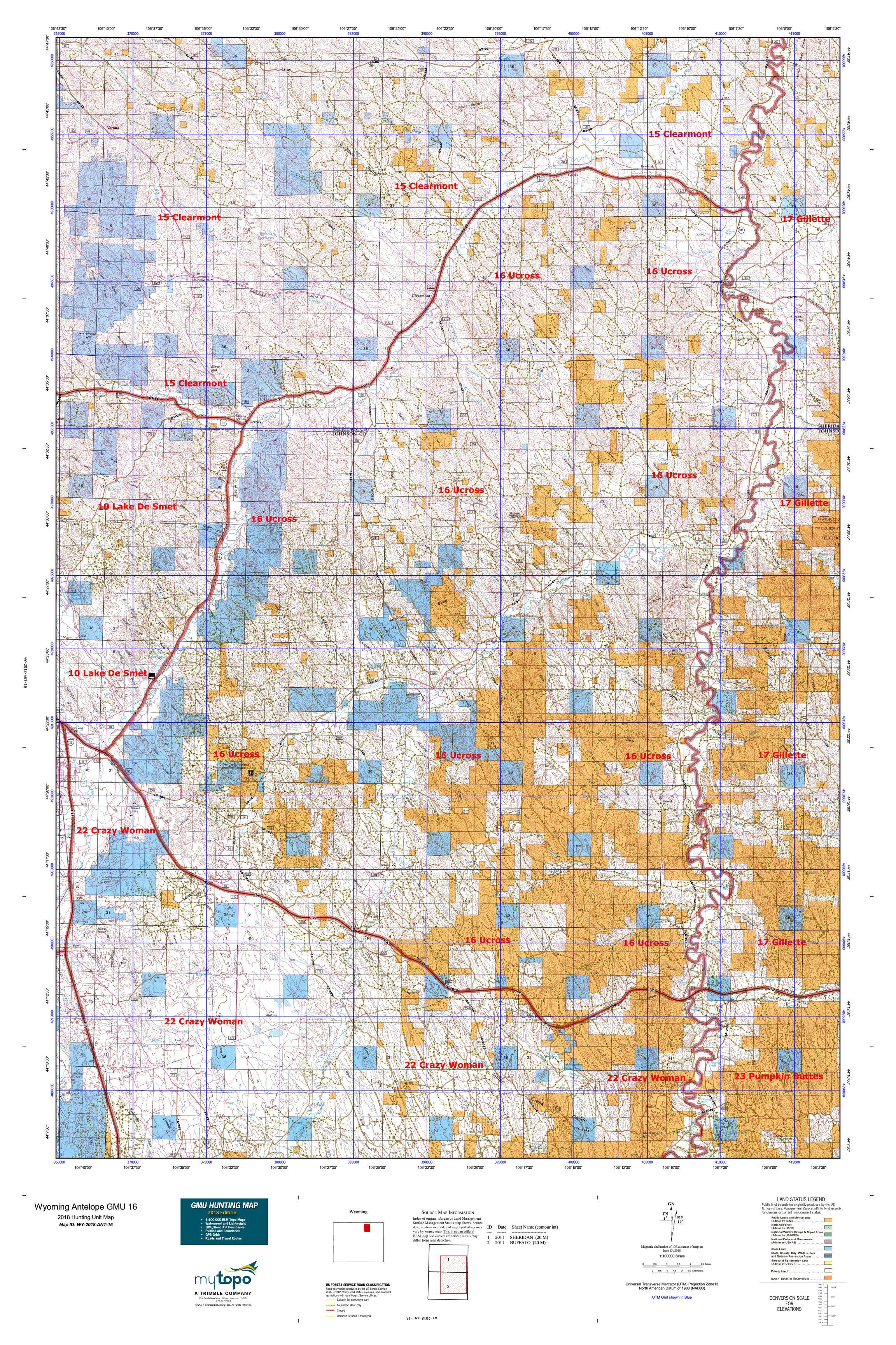 Wyoming Antelope GMU 16 Map   MyTopo