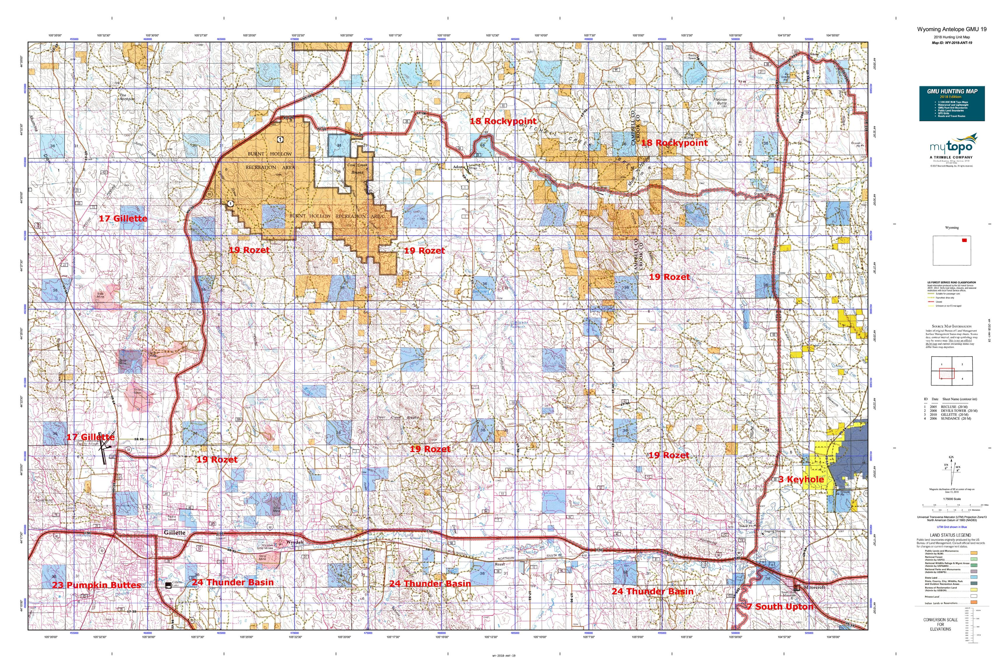 Wyoming Antelope Unit Map Wyoming Antelope GMU 19 Map | MyTopo