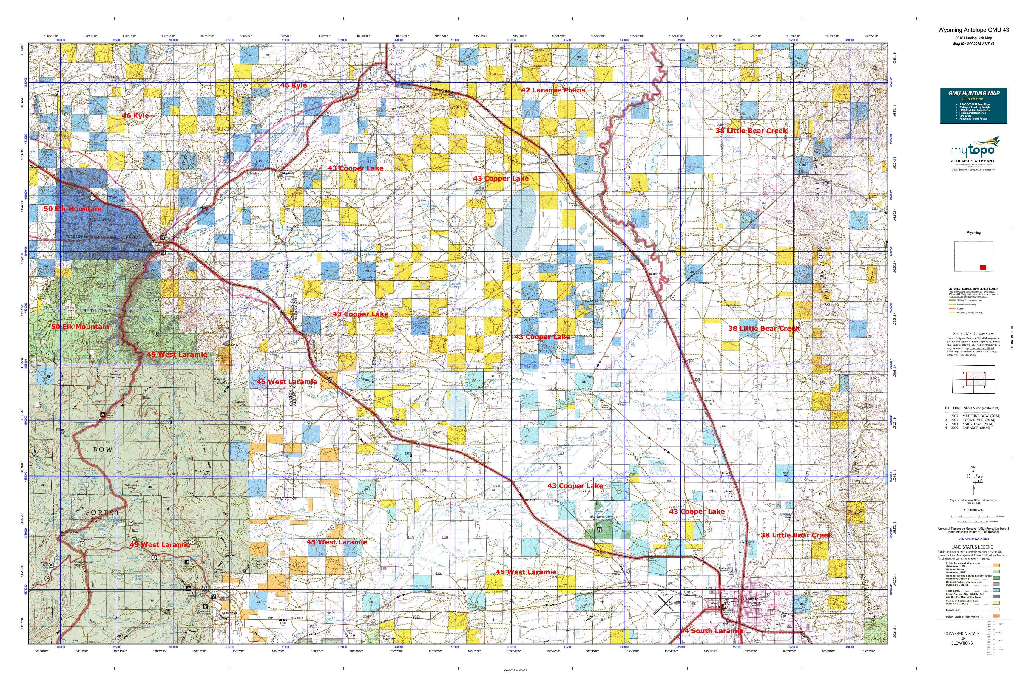 Wyoming Antelope GMU 43 Map | MyTopo