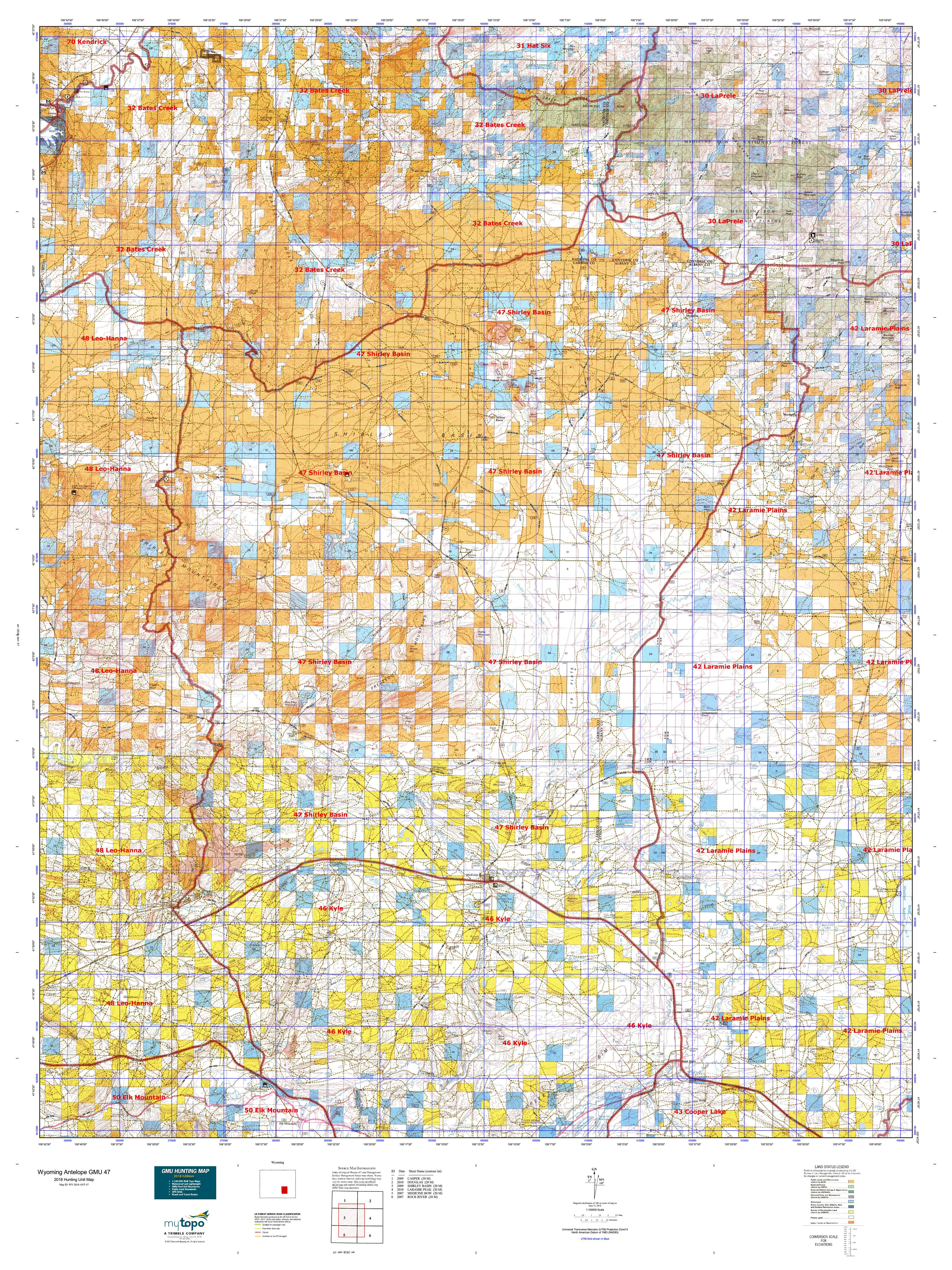 Wyoming Antelope Gmu 47 Map Mytopo