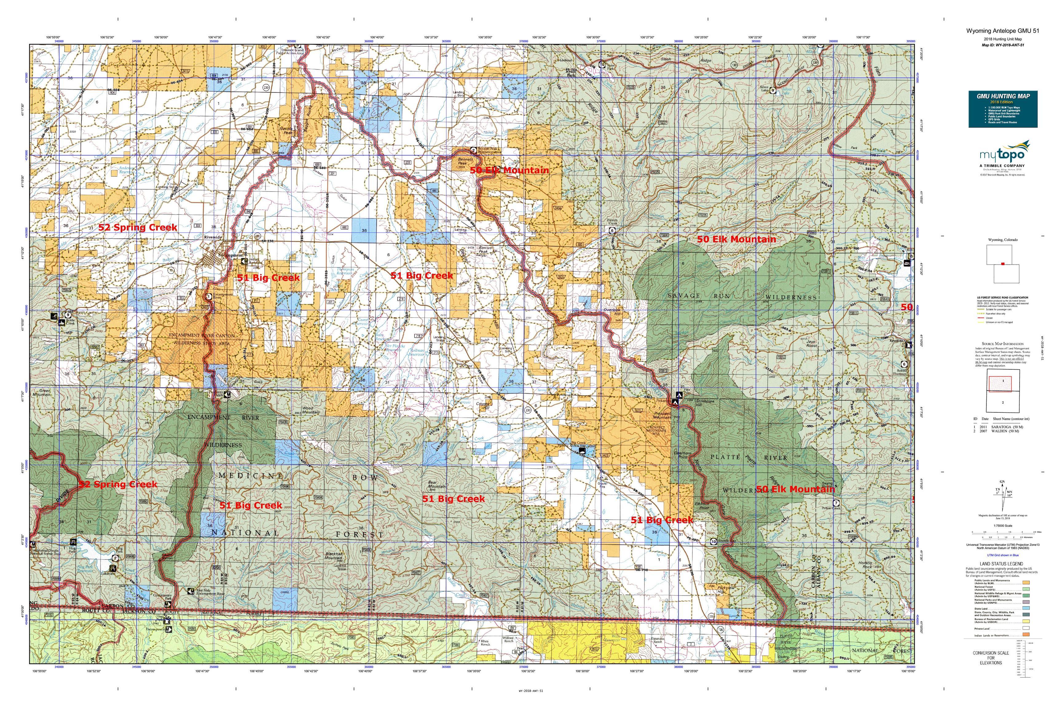Wyoming Antelope GMU 51 Map | MyTopo