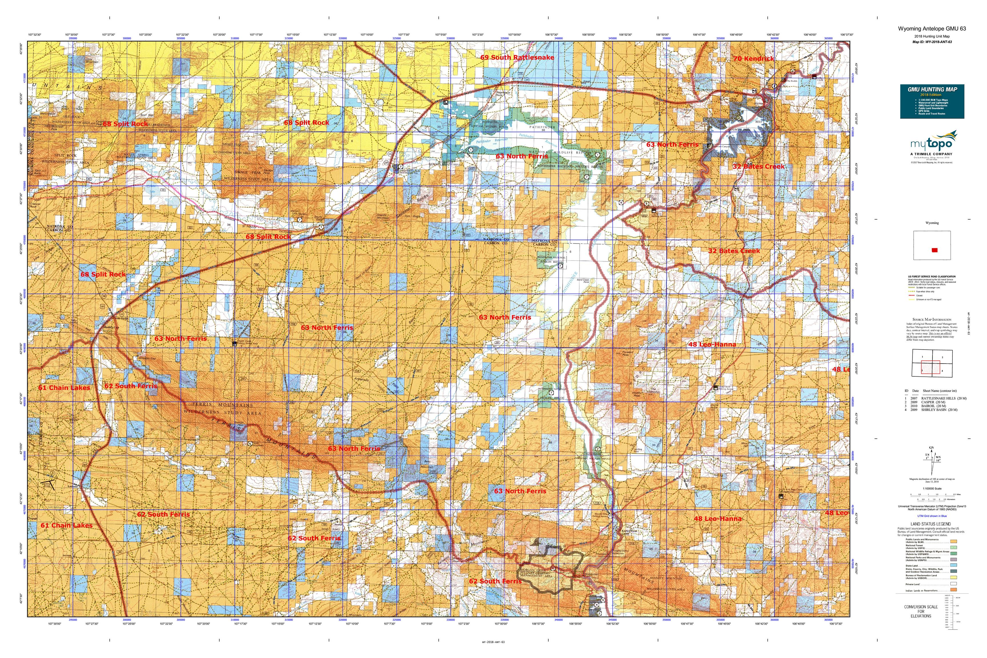 Wyoming Antelope Unit Map Wyoming Antelope GMU 63 Map | MyTopo