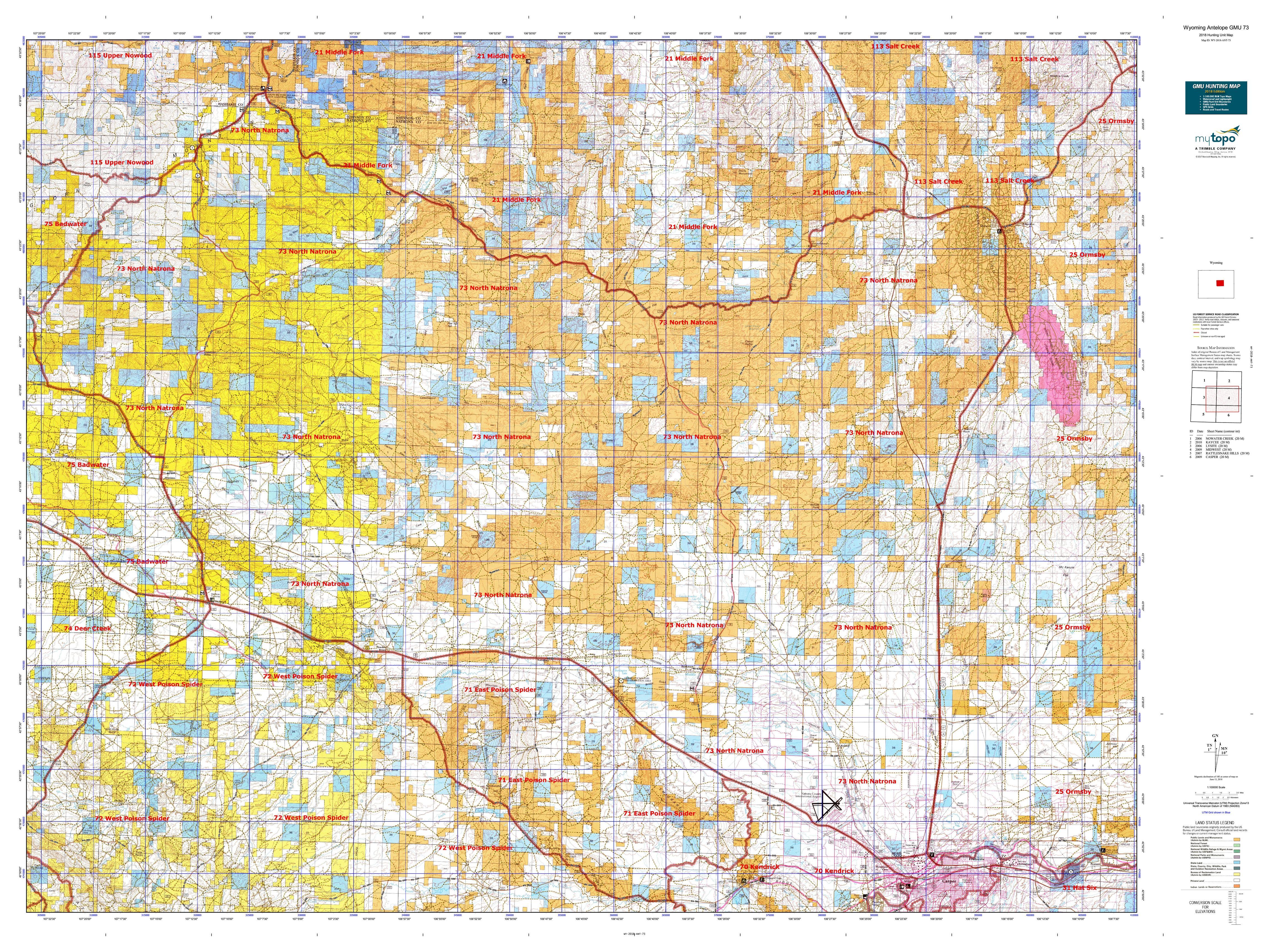 Wyoming Antelope GMU 73 Map | MyTopo