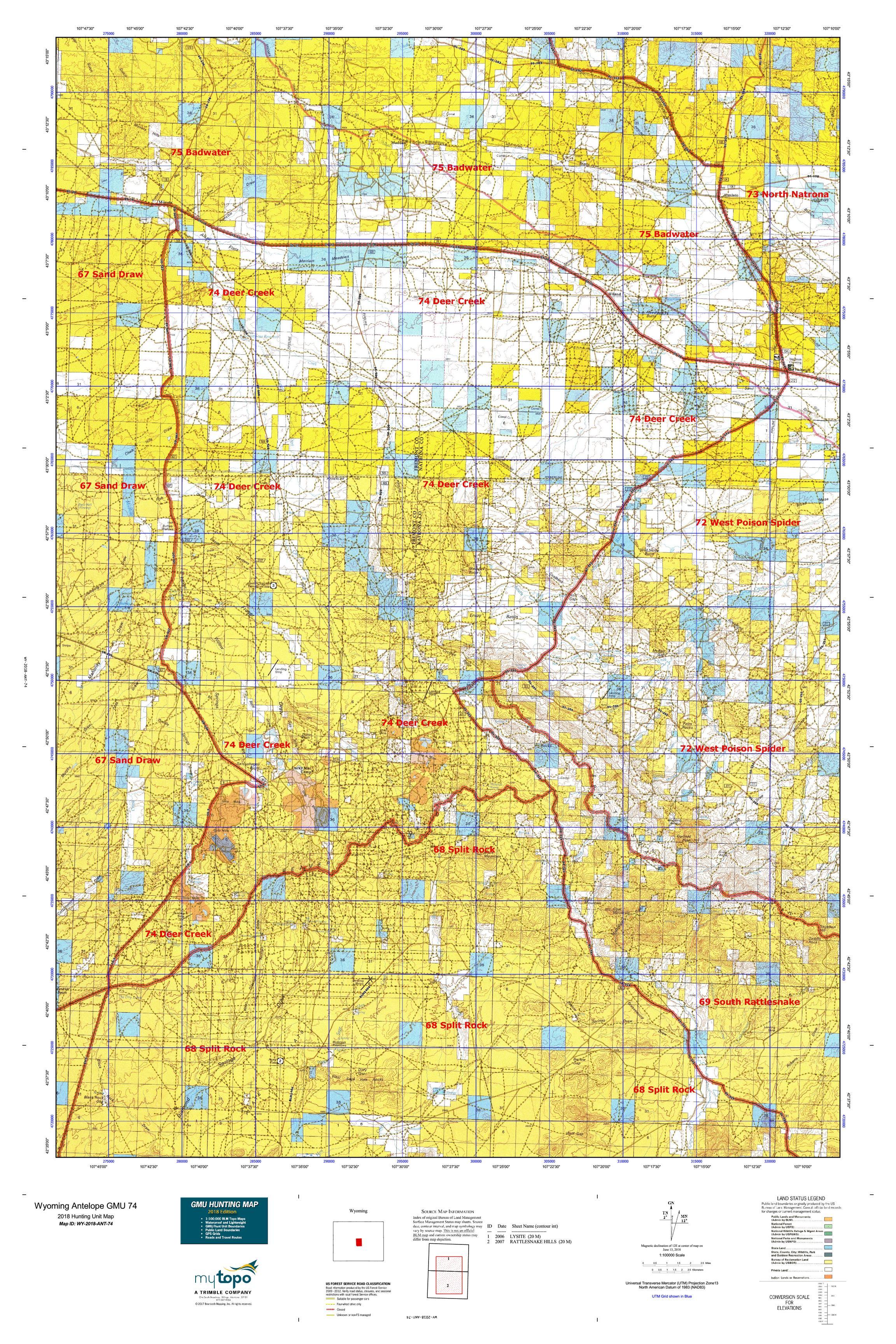 Wyoming Antelope GMU 74 Map   MyTopo on