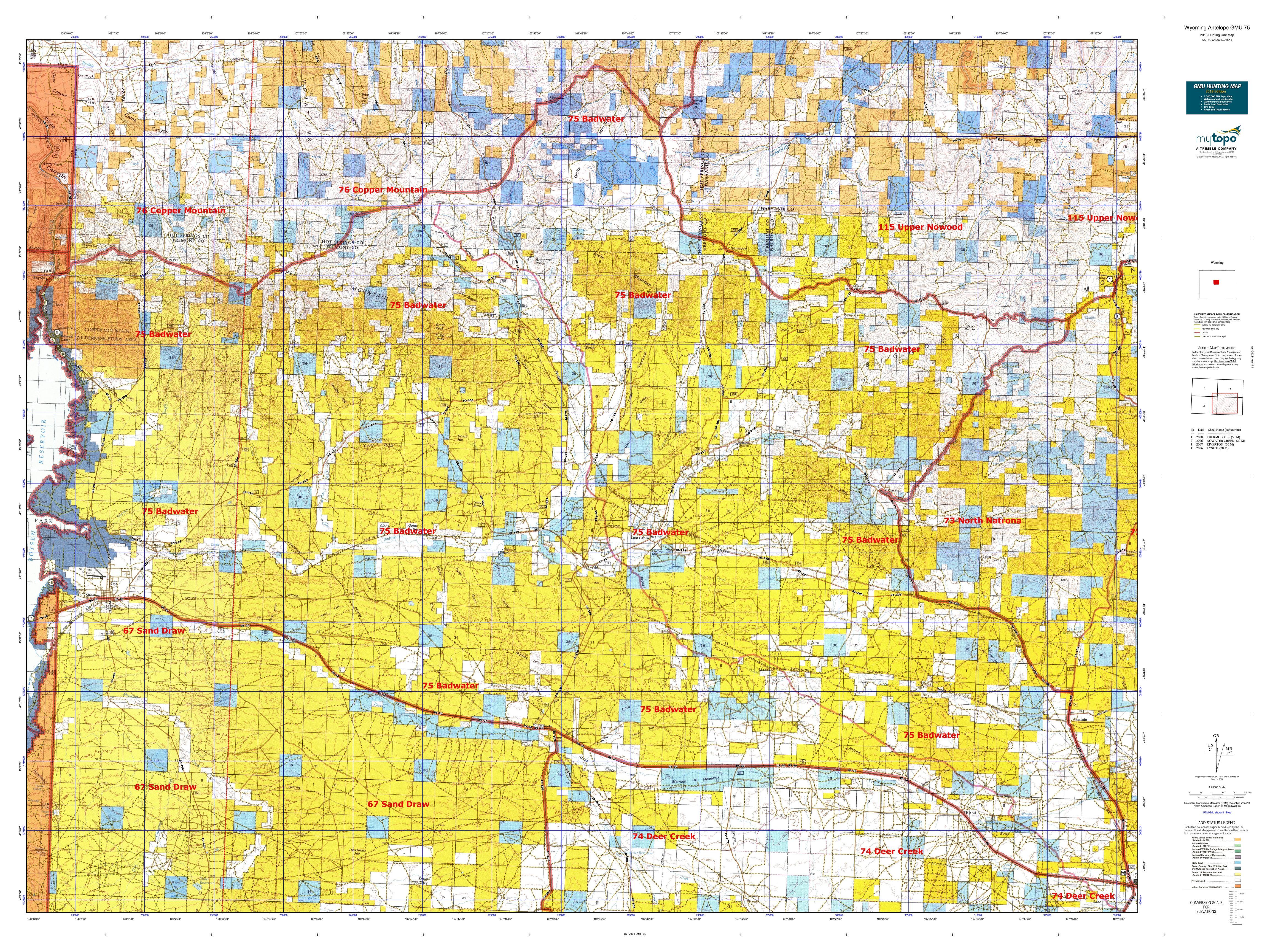 Wyoming Antelope Gmu 75 Map Mytopo