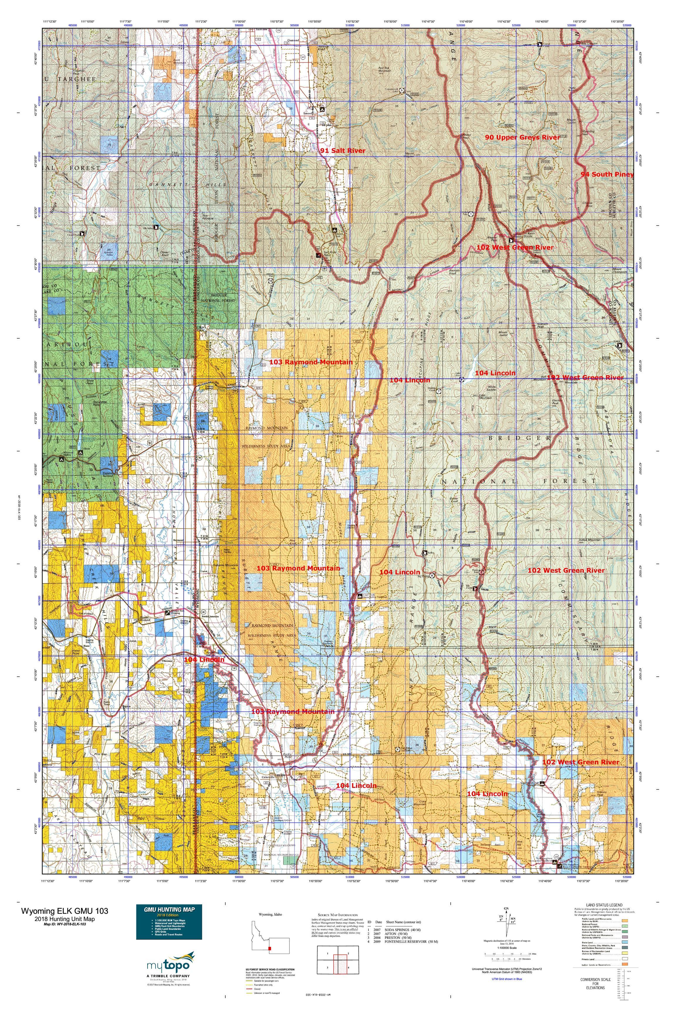 Wyoming Elk Gmu 103 Map Mytopo