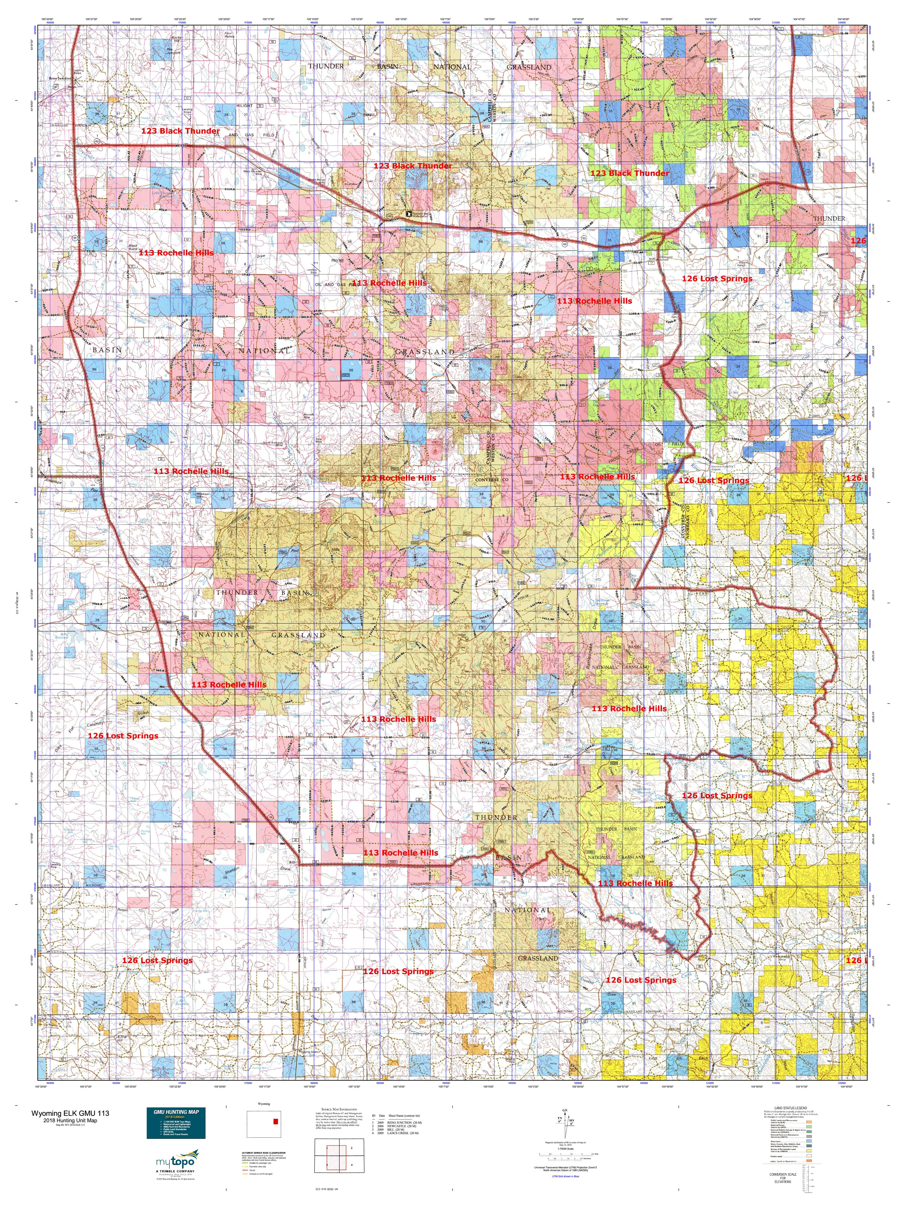 Wyoming ELK GMU 113 Map   MyTopo