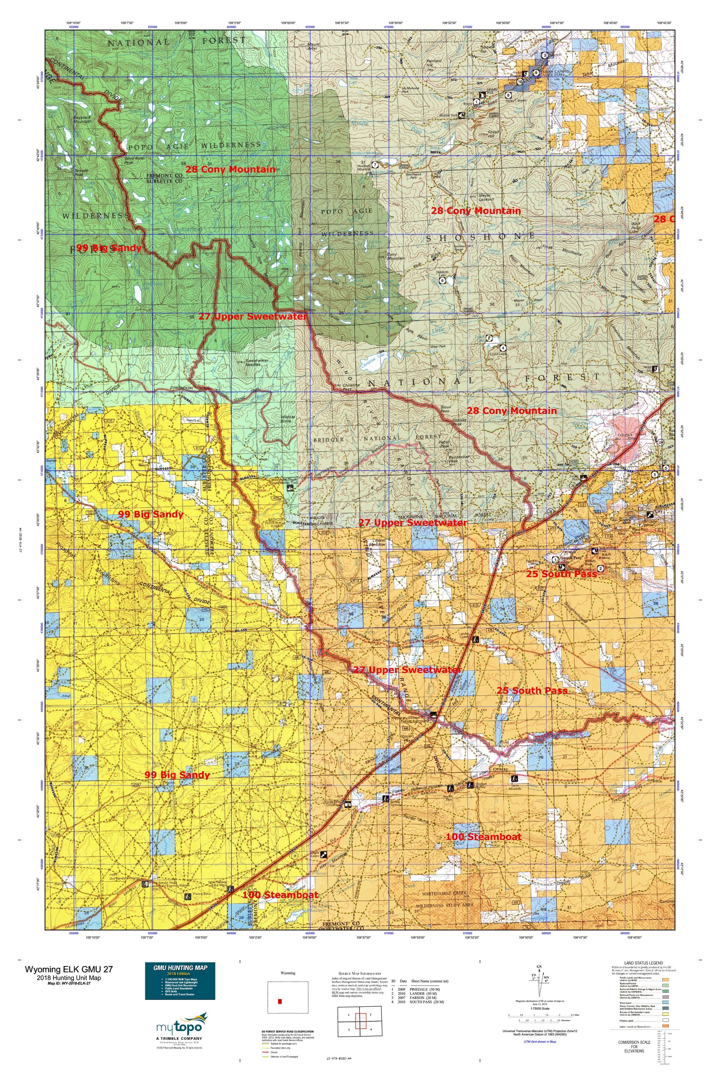 Wyoming Elk Gmu 27 Map Mytopo
