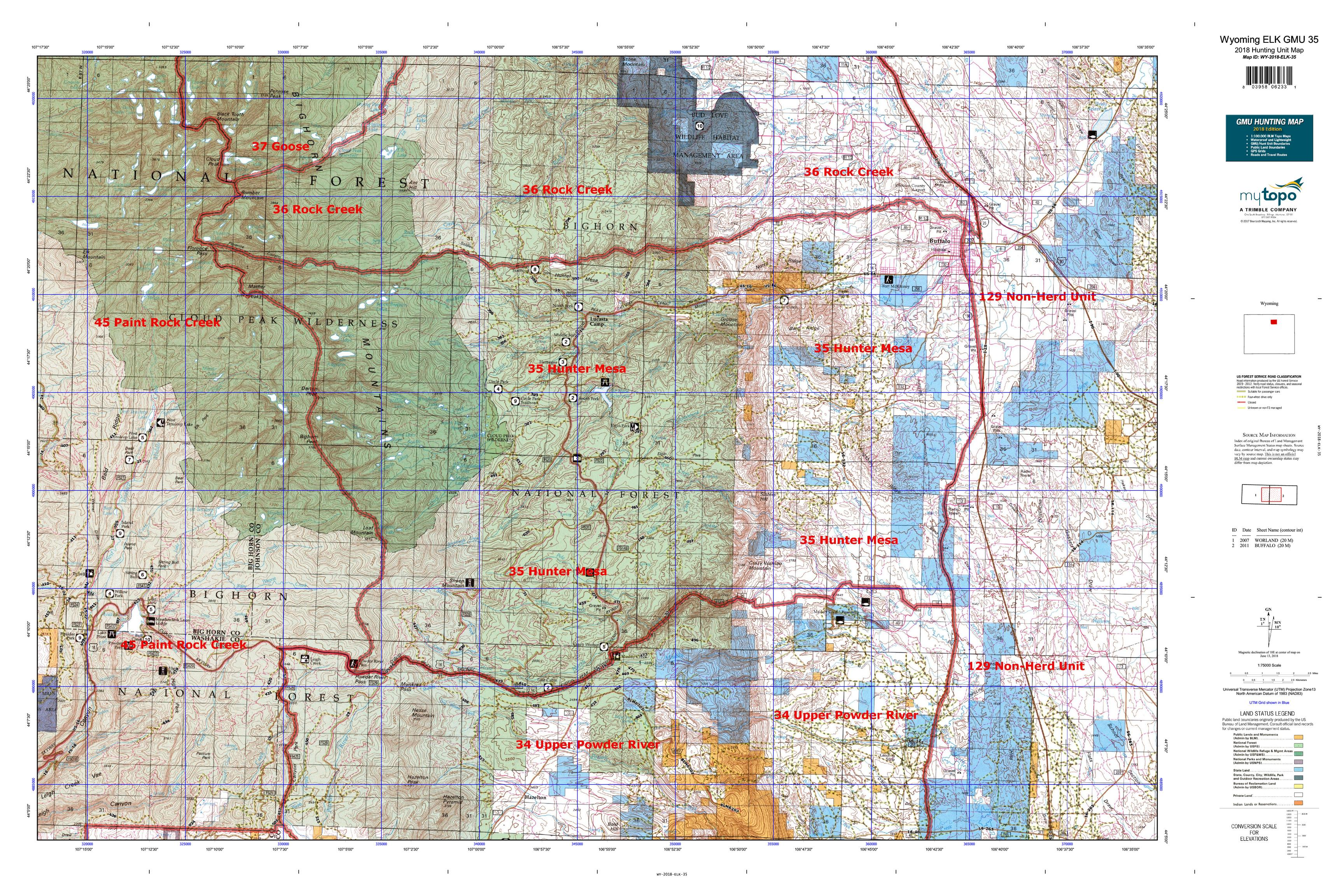 Wyoming ELK GMU 35 Map | MyTopo