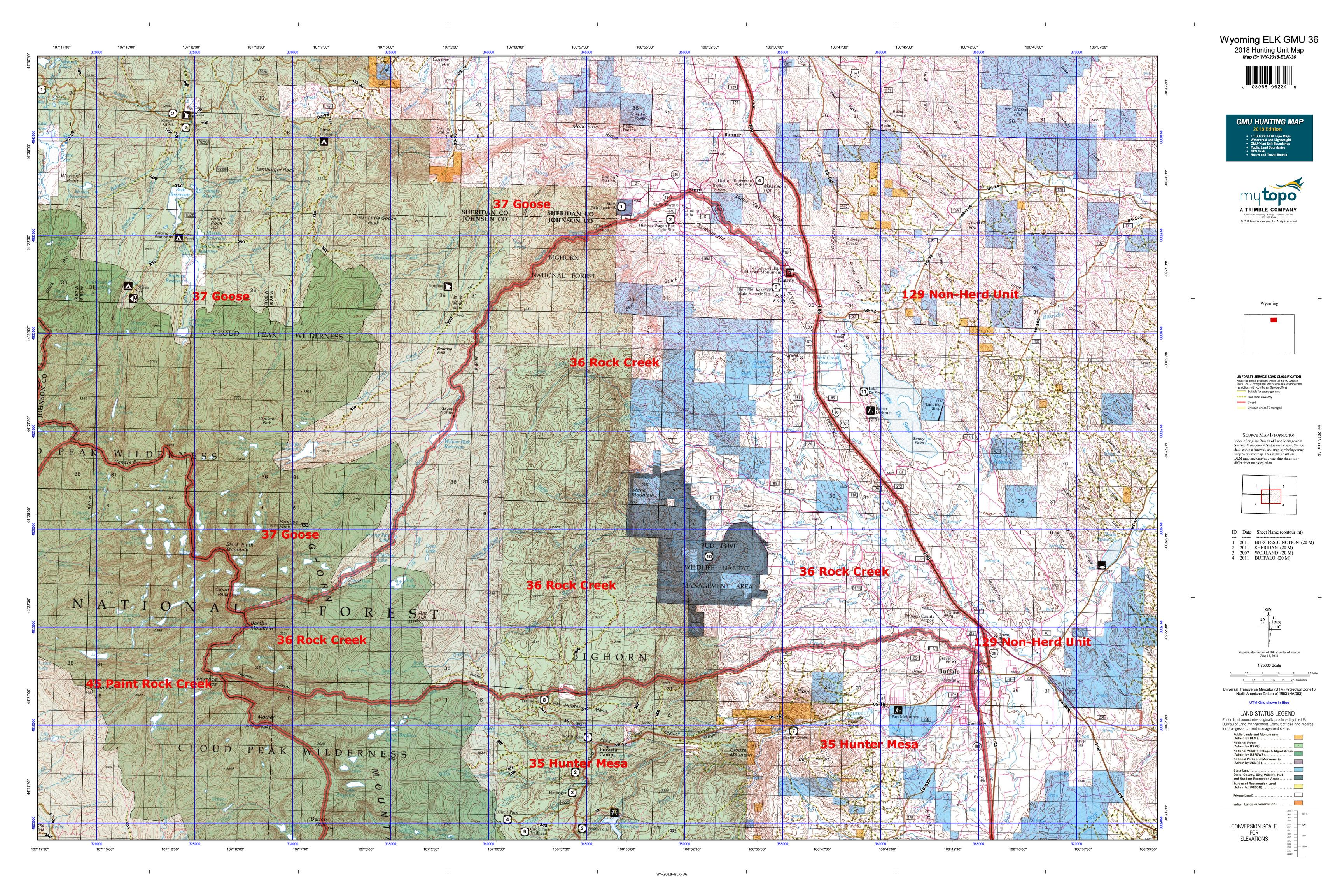 Wyoming ELK GMU 36 Map | MyTopo