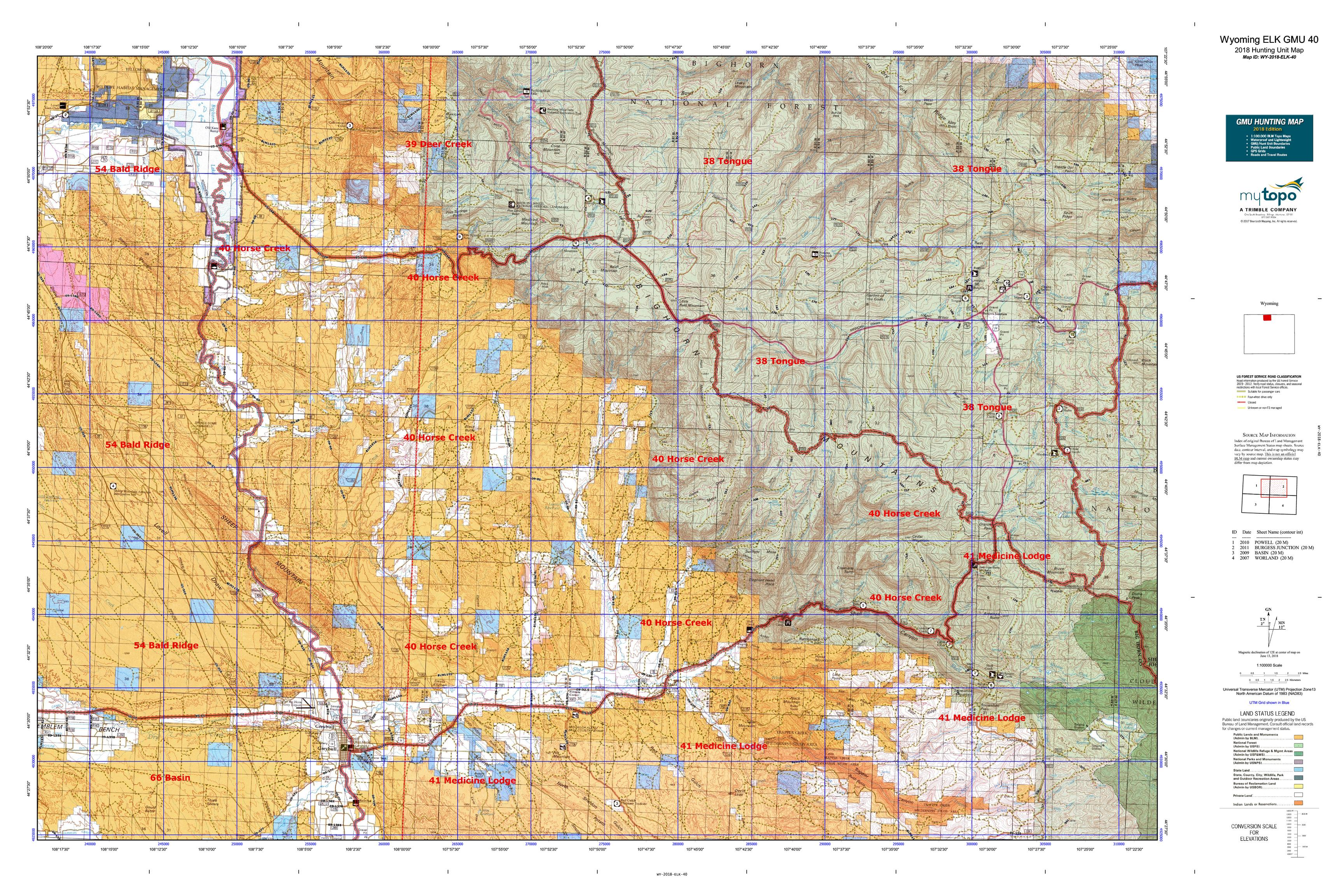 Wyoming ELK GMU 40 Map | MyTopo